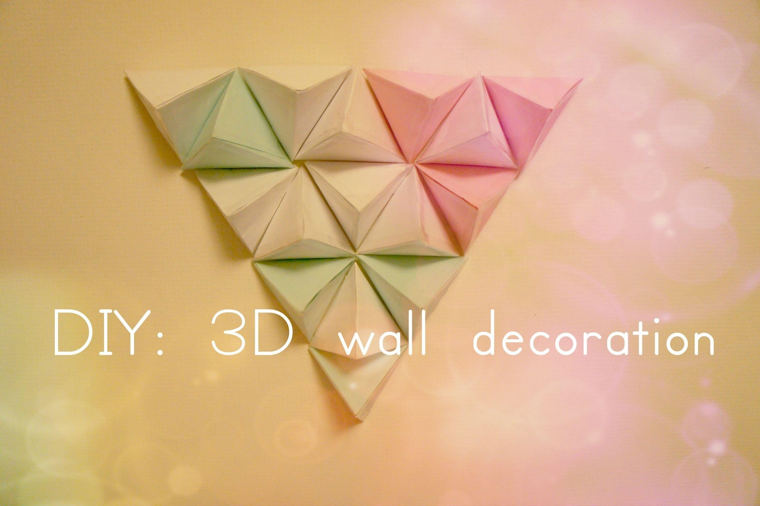 Diy: 3D Wall Decoration – Youtube Throughout 3D Paper Wall Art (View 4 of 20)