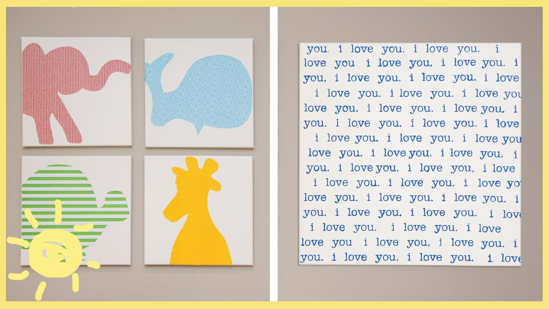 Diy | Canvas Wall Art – Youtube Pertaining To Canvas Prints For Baby Nursery (Image 13 of 20)