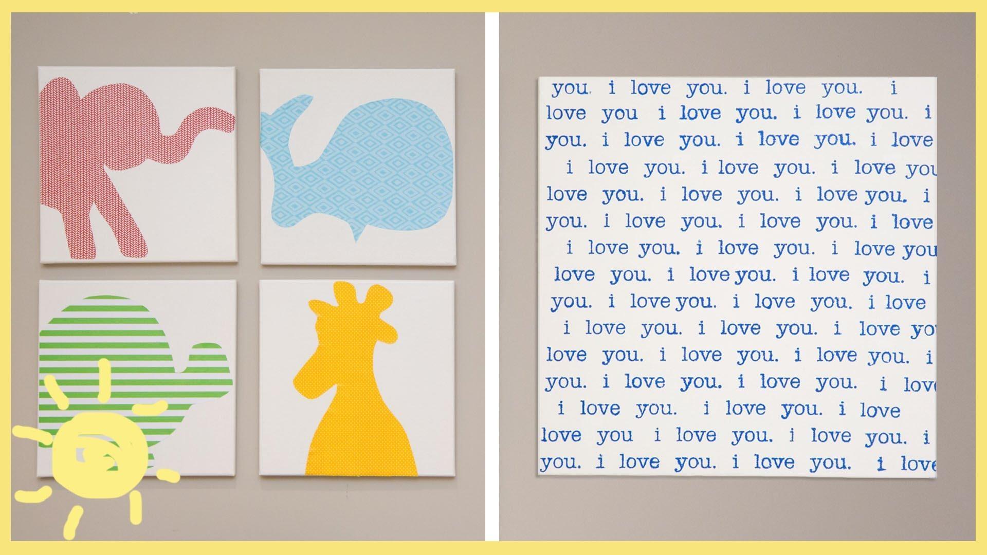 Diy | Canvas Wall Art – Youtube With Regard To Nursery Canvas Art (Image 6 of 20)