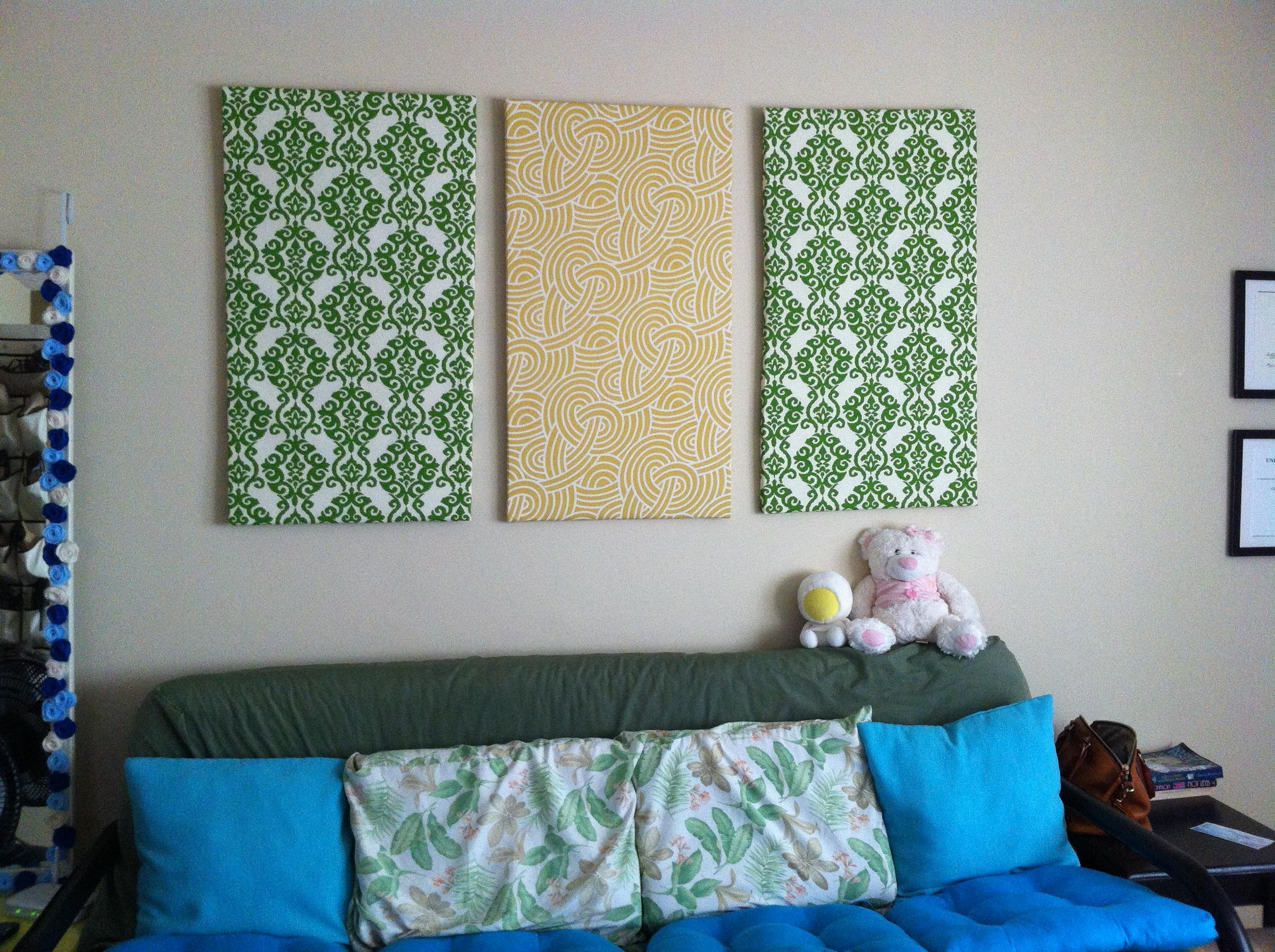 Diy Fabric Wall Art | Crafting Is Sanity Intended For Fabric Canvas Wall Art (Image 7 of 20)