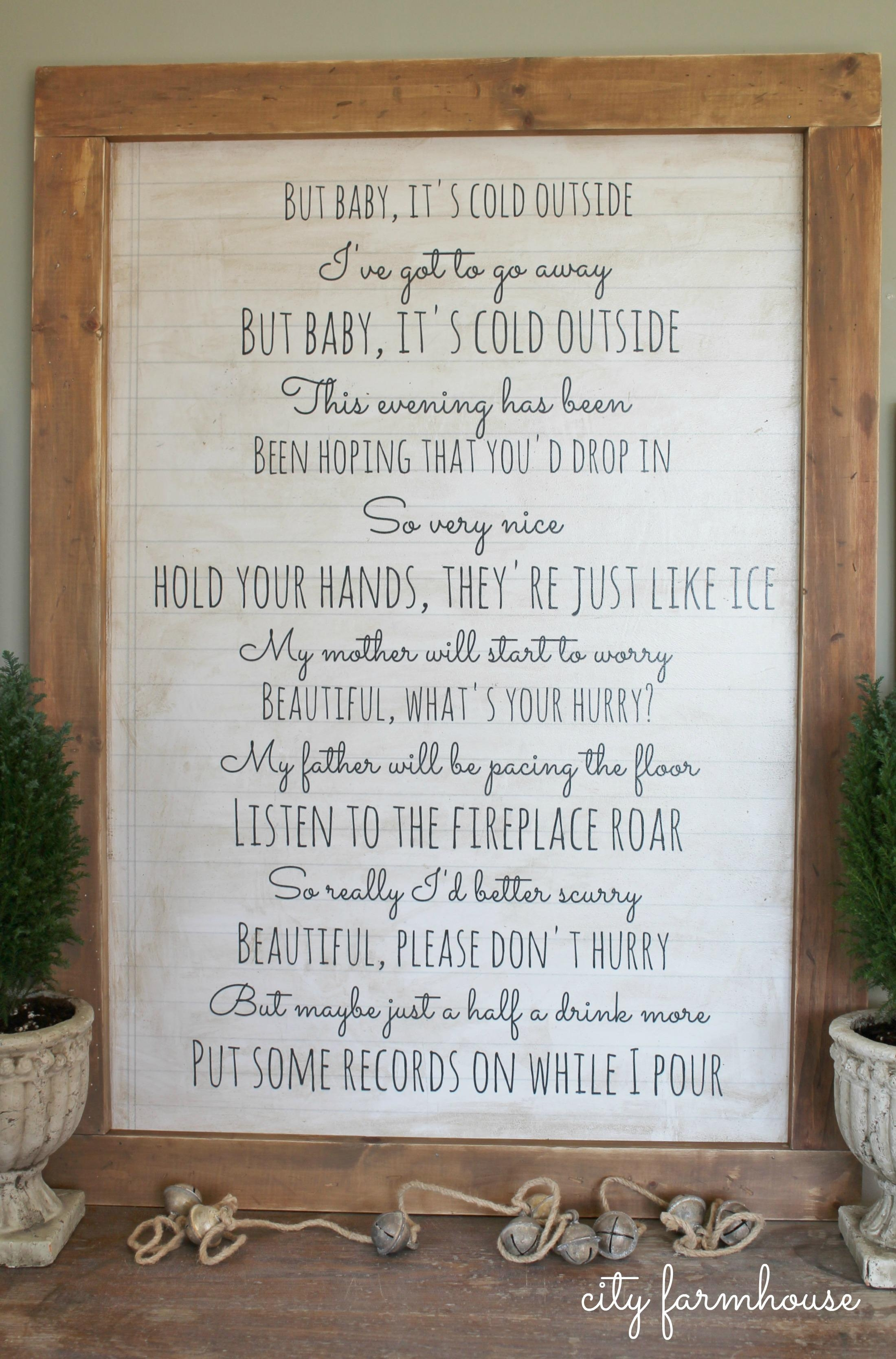 Diy Holiday Art {Baby It's Cold Outside} – City Farmhouse With Farmhouse Wall Art (View 8 of 20)