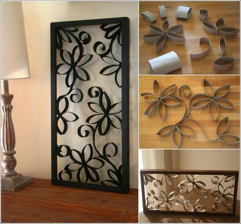 Diy Metal Looking Flower Wall Art From Paper Roll Pertaining To Metal Framed Wall Art (Image 6 of 20)