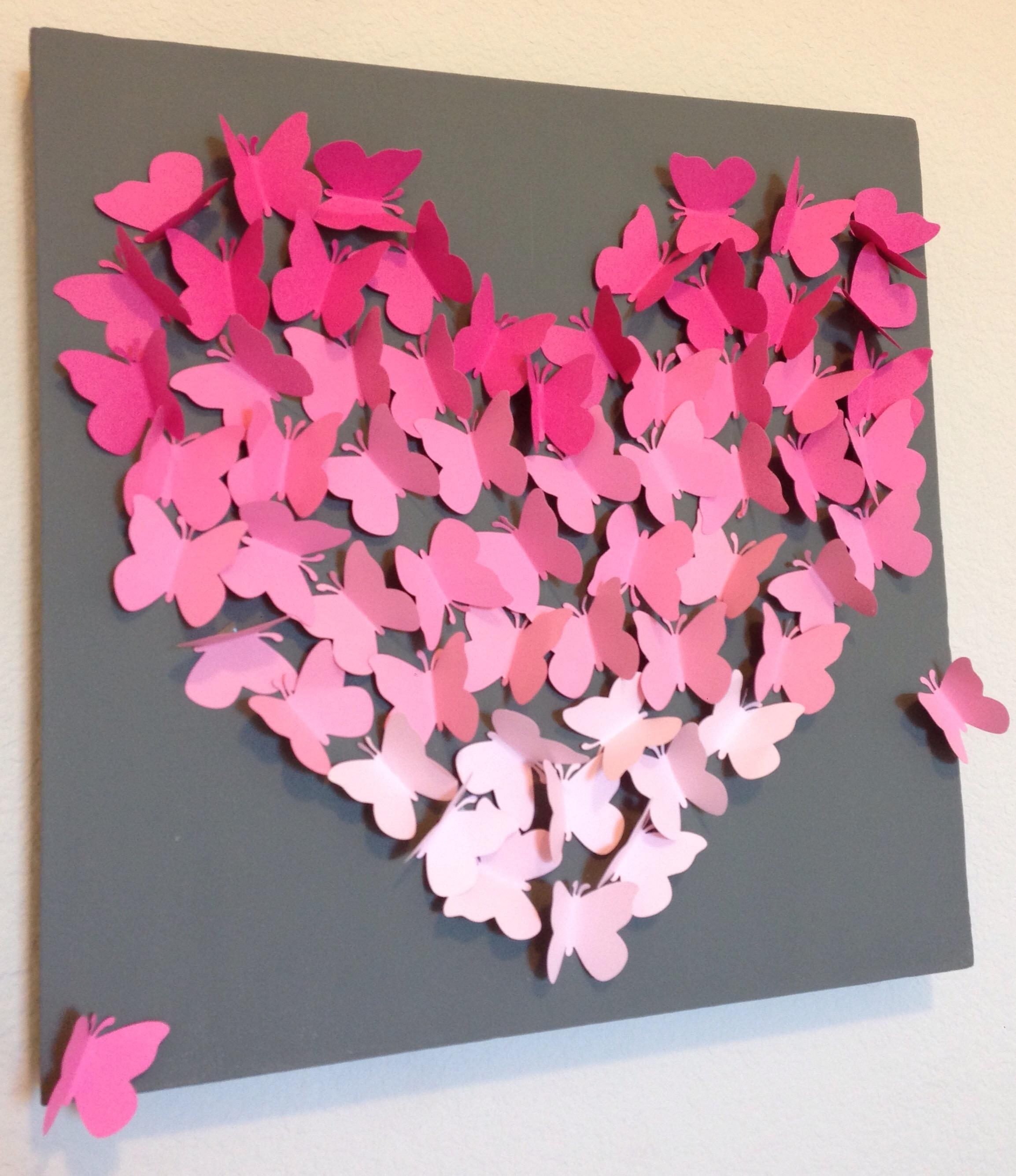 Diy Ombre Butterfly Wall Art Within Pink Butterfly Wall Art (View 7 of 20)