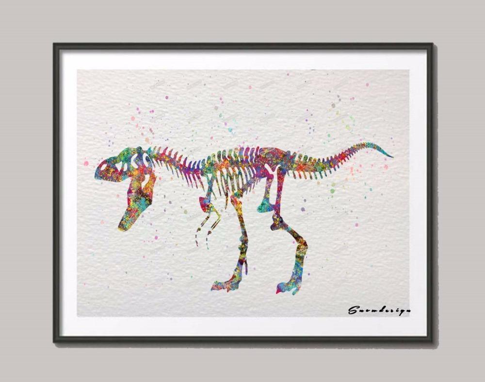 Diy Original Watercolor Skull Dinosaur Wall Art Canvas Painting Intended For Dinosaur Canvas Wall Art (View 11 of 20)