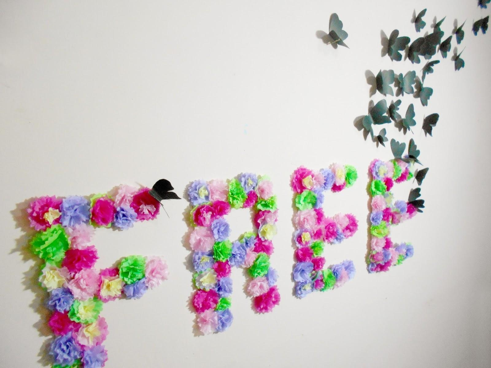 Diy Paper Flowers And Butterflies Wall Art | Room Decoration Idea Within Ceramic Butterfly Wall Art (Image 16 of 20)