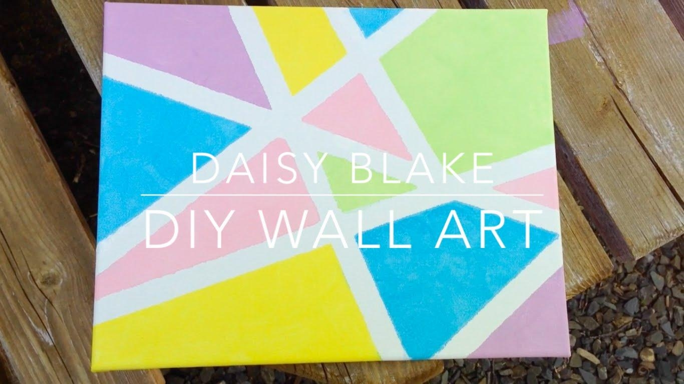 Diy Pinterest/tumblr Inspired Canvas Wall Art || Daisy Blake – Youtube Intended For Diy Pinterest Canvas Art (View 11 of 20)