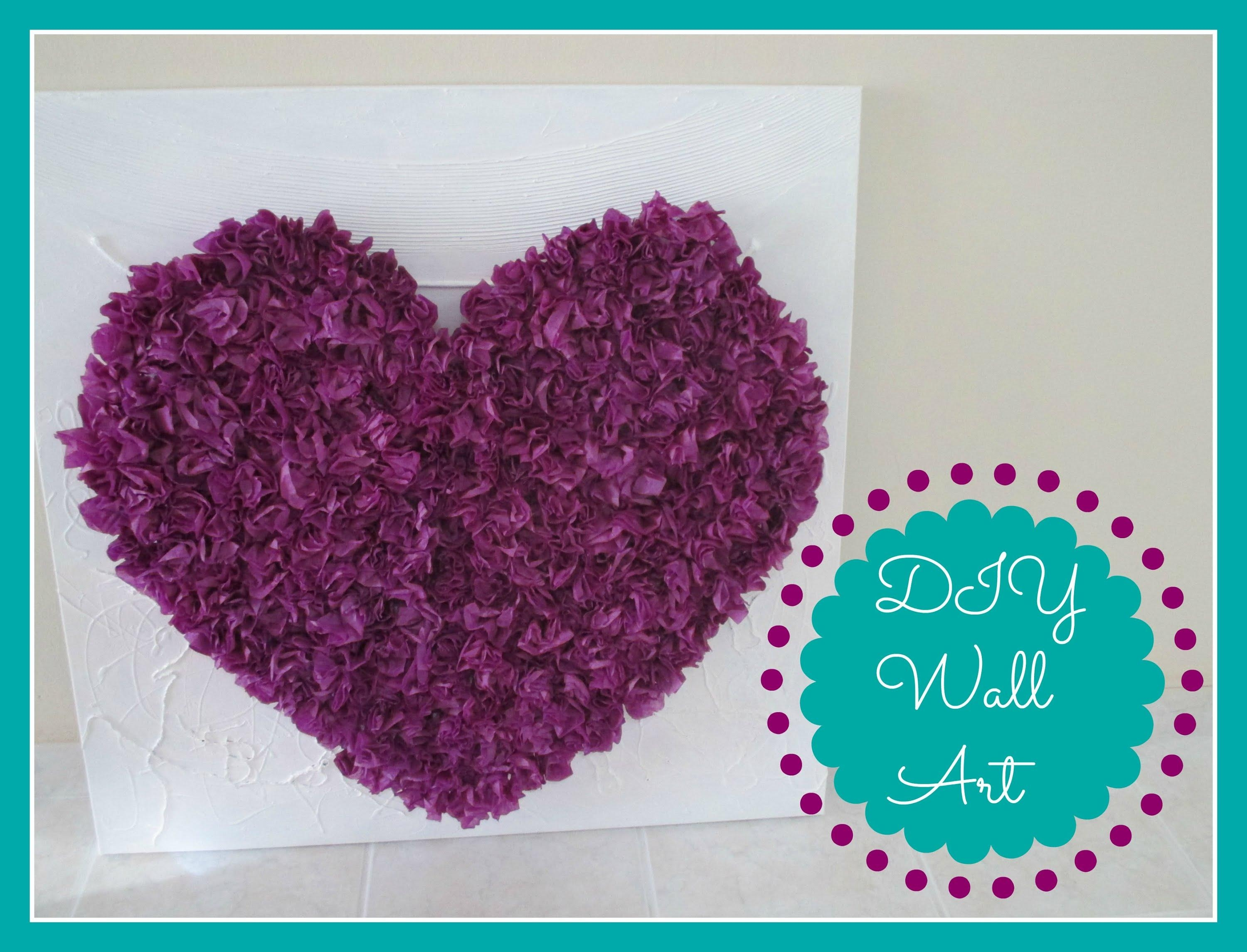 Diy Room Decor (Tissue Paper Heart Wall Art) – Youtube With 3D Clouds Out Of Paper Wall Art (Image 14 of 20)