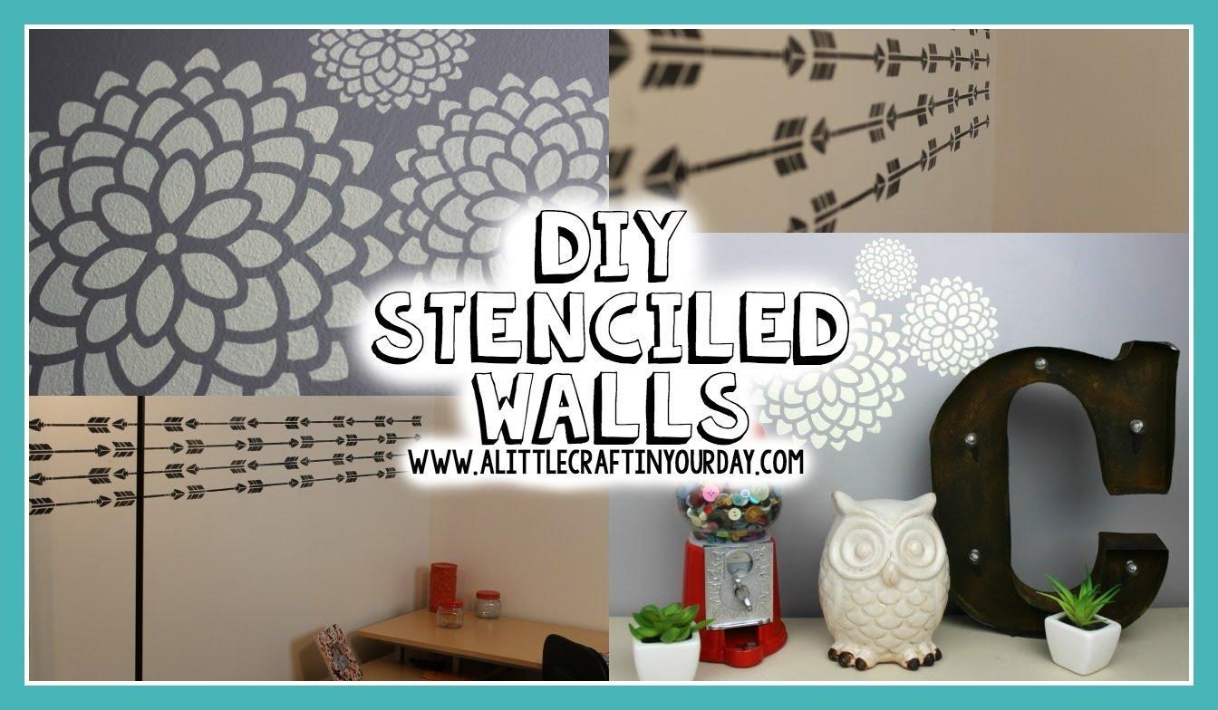 Diy Stenciled Wall   Easy Diy & Teen Room Decor  Youtube Inside Teenage  Wall Art