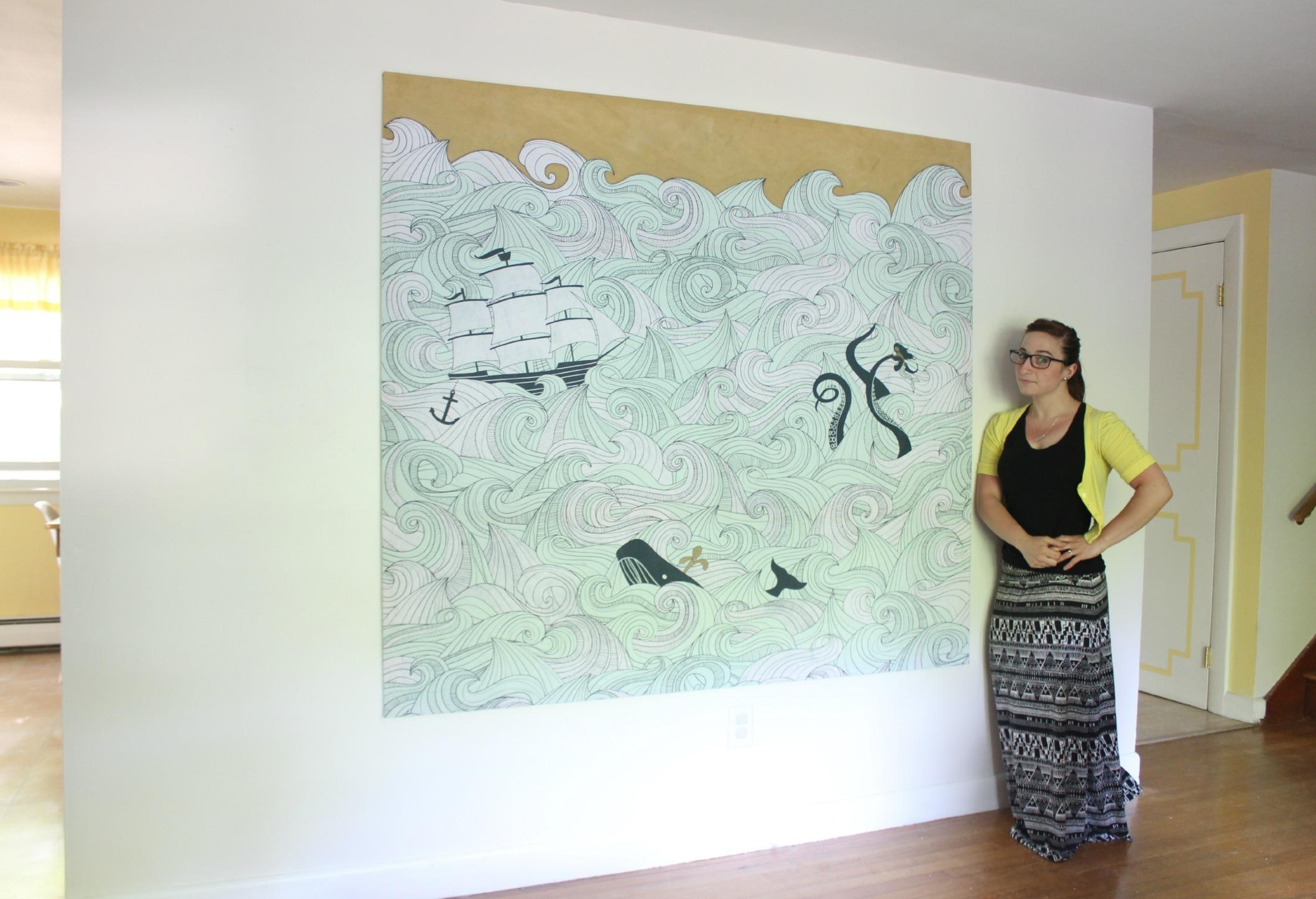Diy Stretched Fabric Canvas (With A Shower Curtain!) | Stephanie With Regard To Fabric Canvas Wall Art (Image 9 of 20)