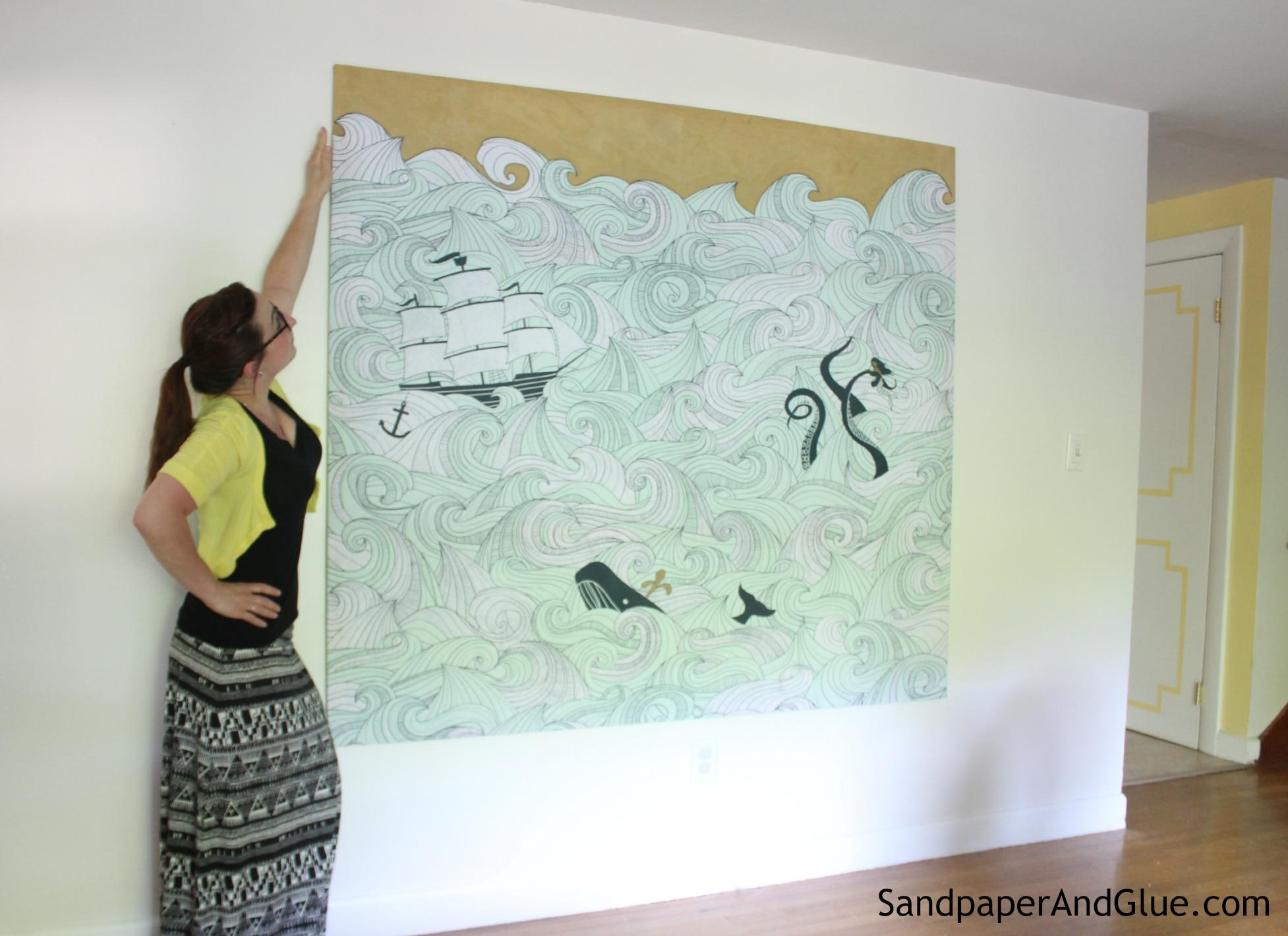 Diy Stretched Fabric Canvas (With A Shower Curtain!) | Stephanie With Regard To Stretched Fabric Wall Art (Image 9 of 20)