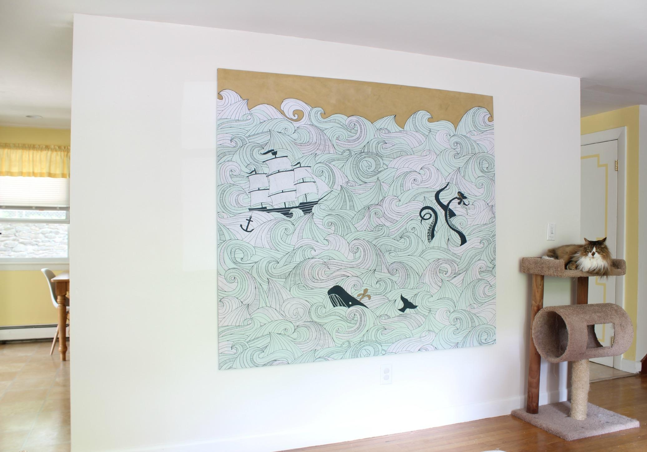 Diy Stretched Fabric Canvas (With A Shower Curtain!) | Stephanie Within Stretched Fabric Wall Art (View 2 of 20)