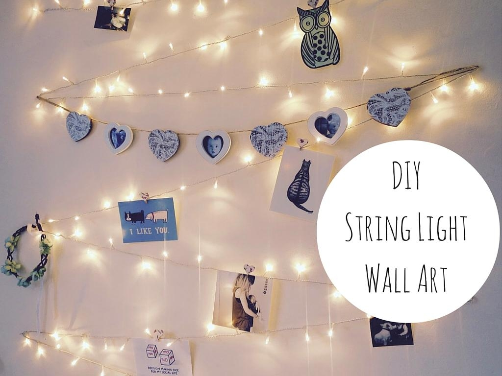 Diy String Light Wall Art Decoration Throughout Wall Art With Lights (Image 7 of 20)