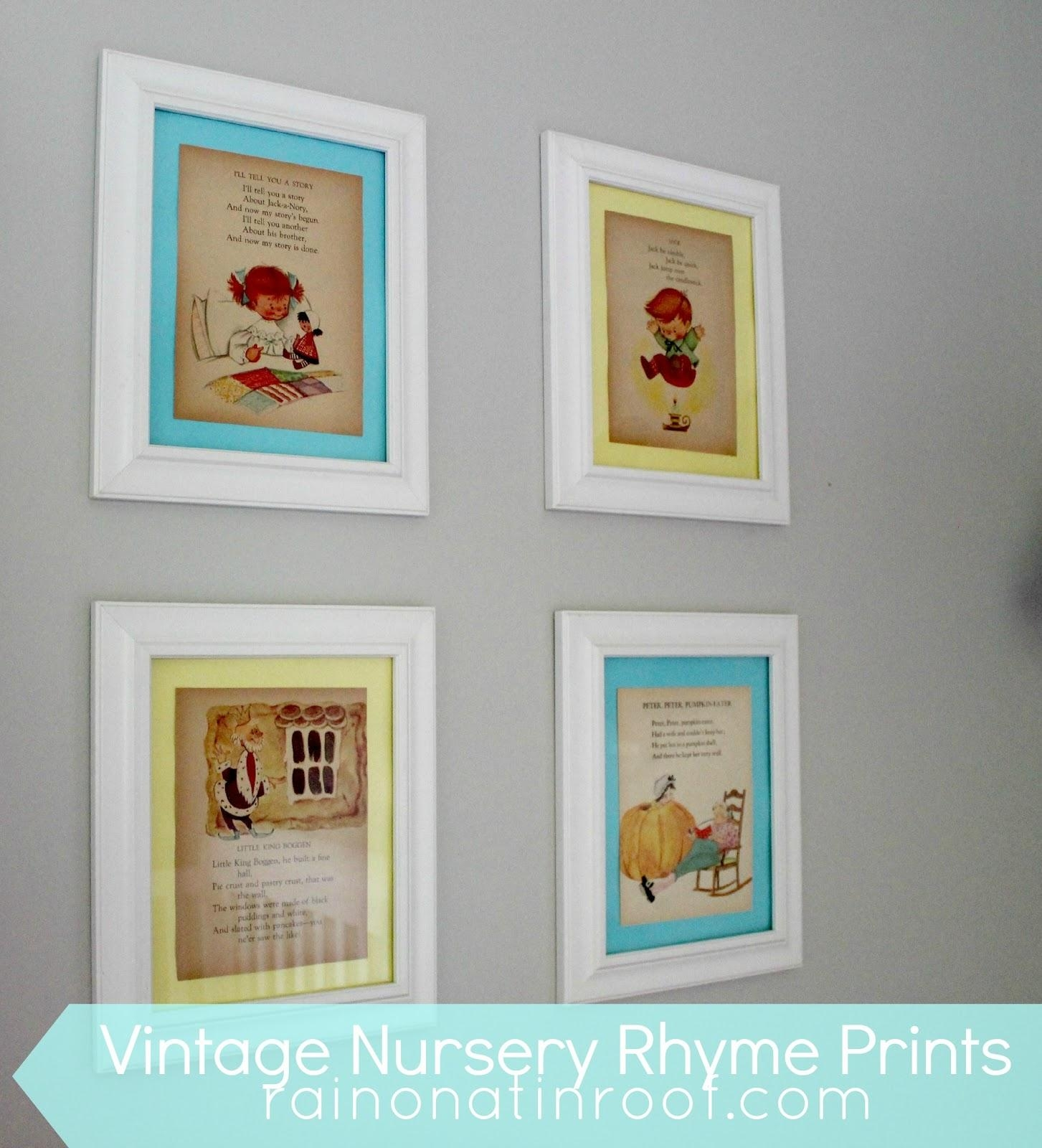 Diy Vintage Nursery Rhyme Prints: Simple & Cheap Regarding Nursery Framed Wall Art (View 8 of 20)