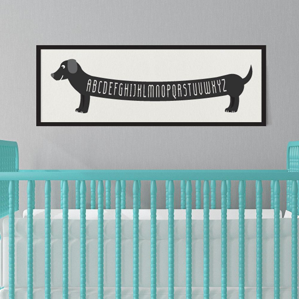 Dog Art Print Dachshund Art Alphabet Print Dachshund Baby For Dachshund Wall Art (Image 10 of 20)