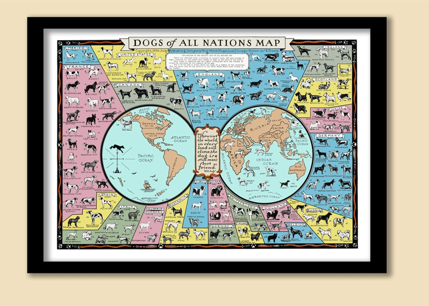 Dog Breeds Of The World Vintage Map / Wall Chart (View 14 of 20)