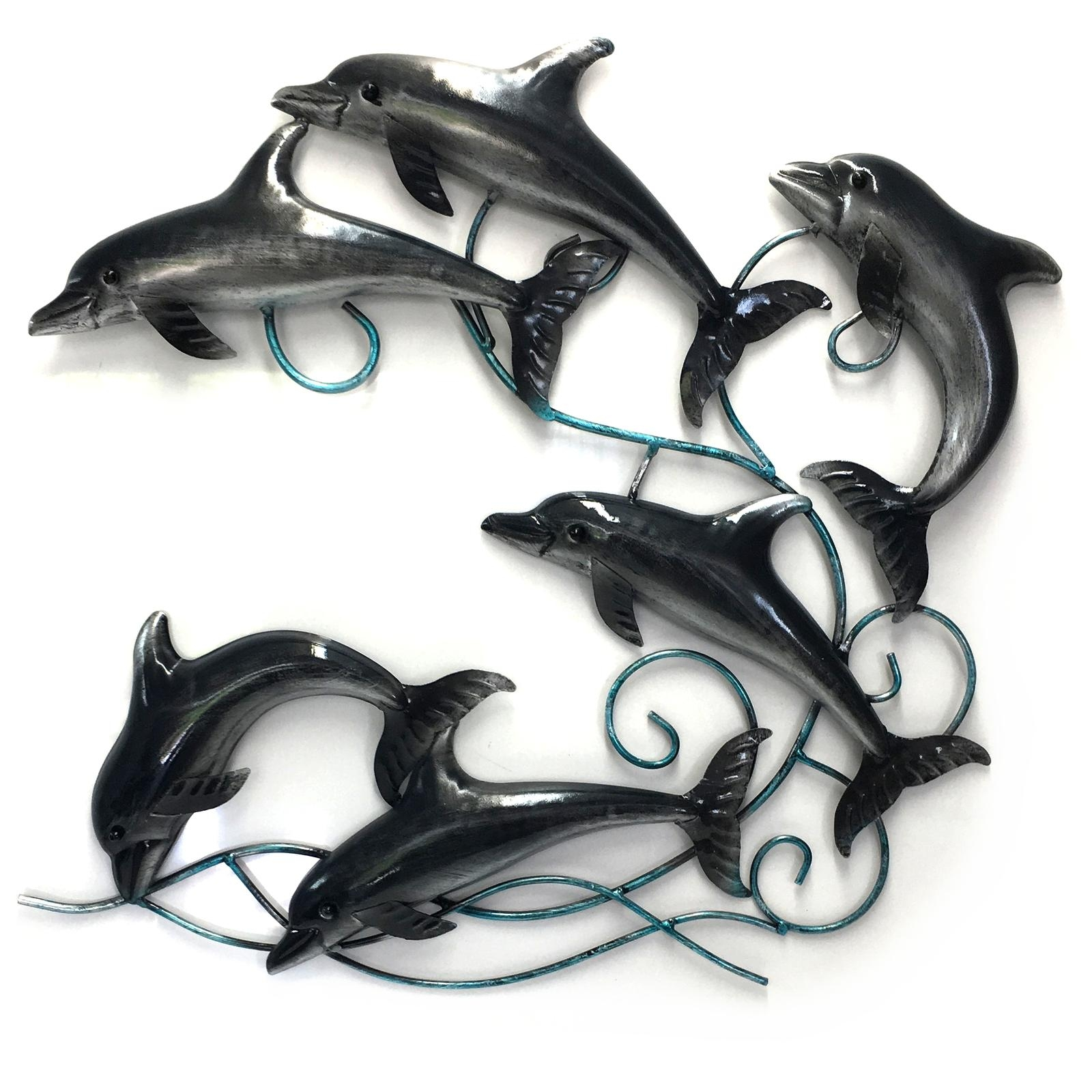Dolphin Metal Wall Art Sculpture Hanging Garden Ornament Beach Big Intended For Dolphin Metal Wall Art (Image 6 of 20)