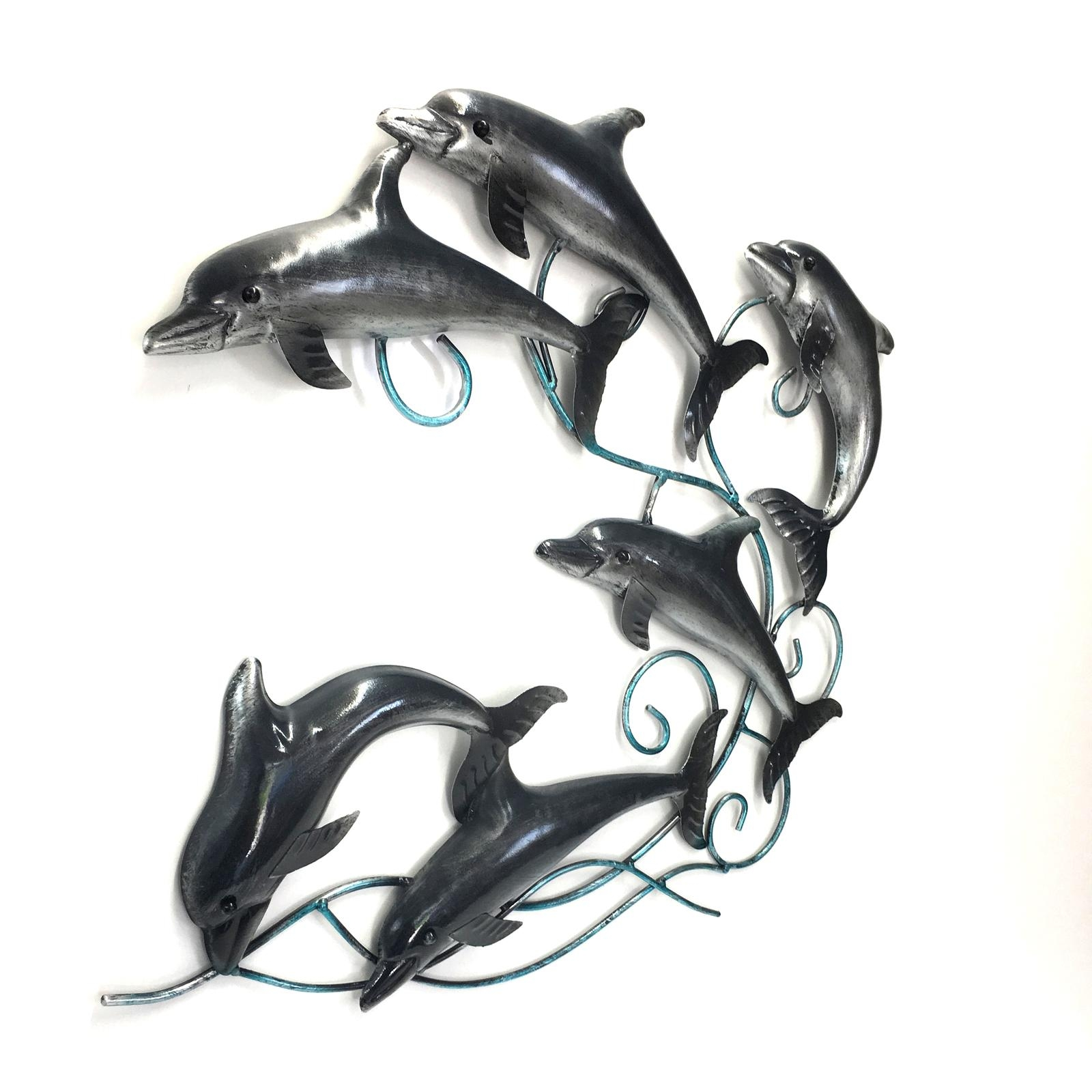 Dolphin Metal Wall Art Sculpture Hanging Garden Ornament Beach Big With Dolphin Metal Wall Art (View 13 of 20)