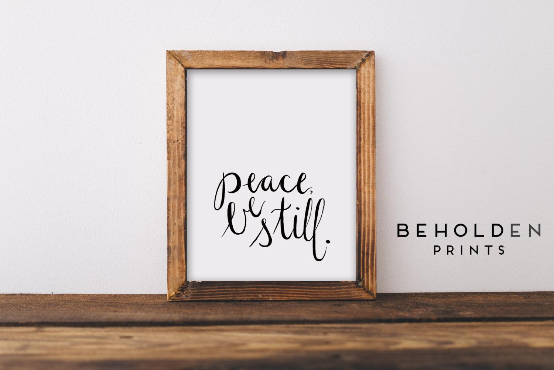 Dorm Wall Art Peace Be Still Quote Prints Peace Wall Art Inside Bible Verses Framed Art (View 8 of 20)