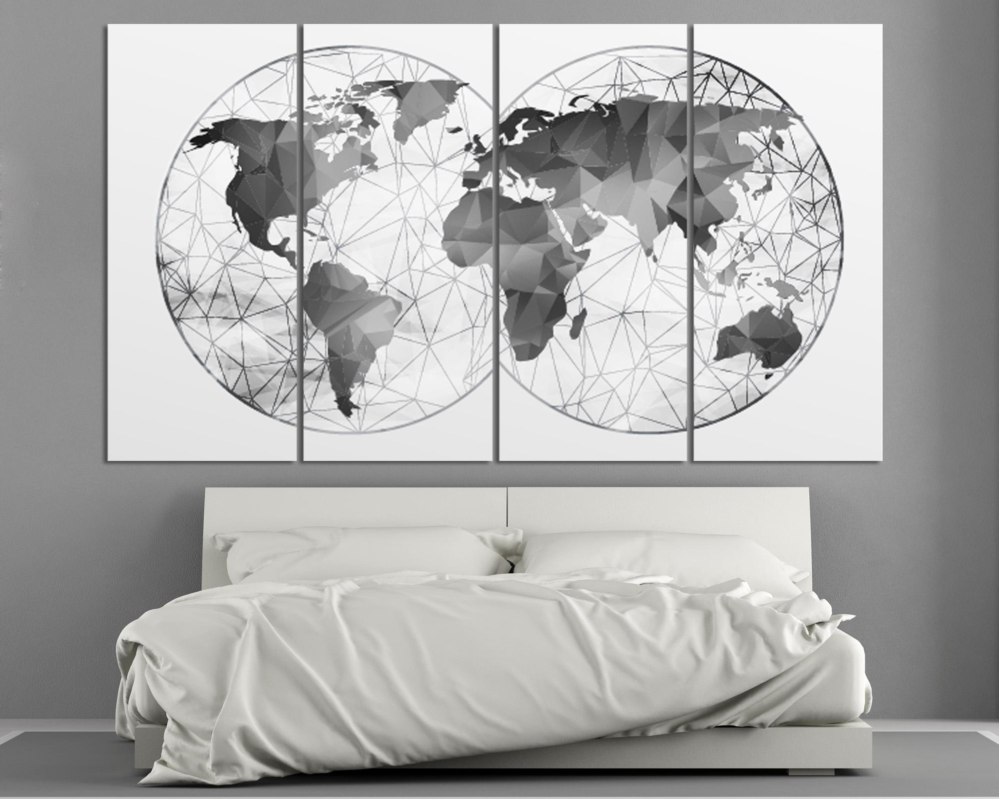Double Hemisphere Black & White Abstract World Map At Intended For Black And White Wall Art Sets (Image 9 of 20)
