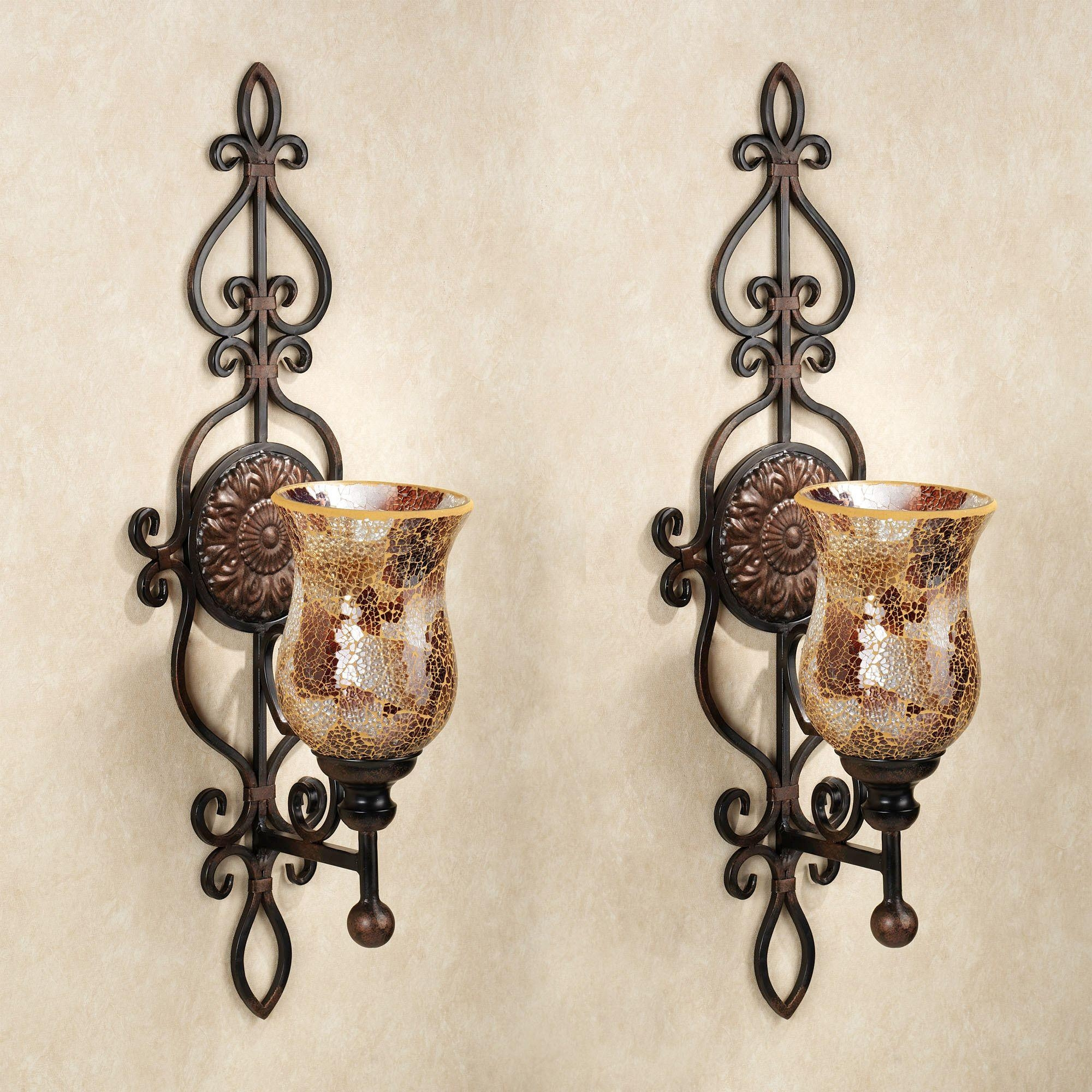 Double Light Ivory Crystal Wall Sconce Rosenberryrooms Com Faux Regarding Faux Wrought Iron Wall Decors (Image 4 of 20)