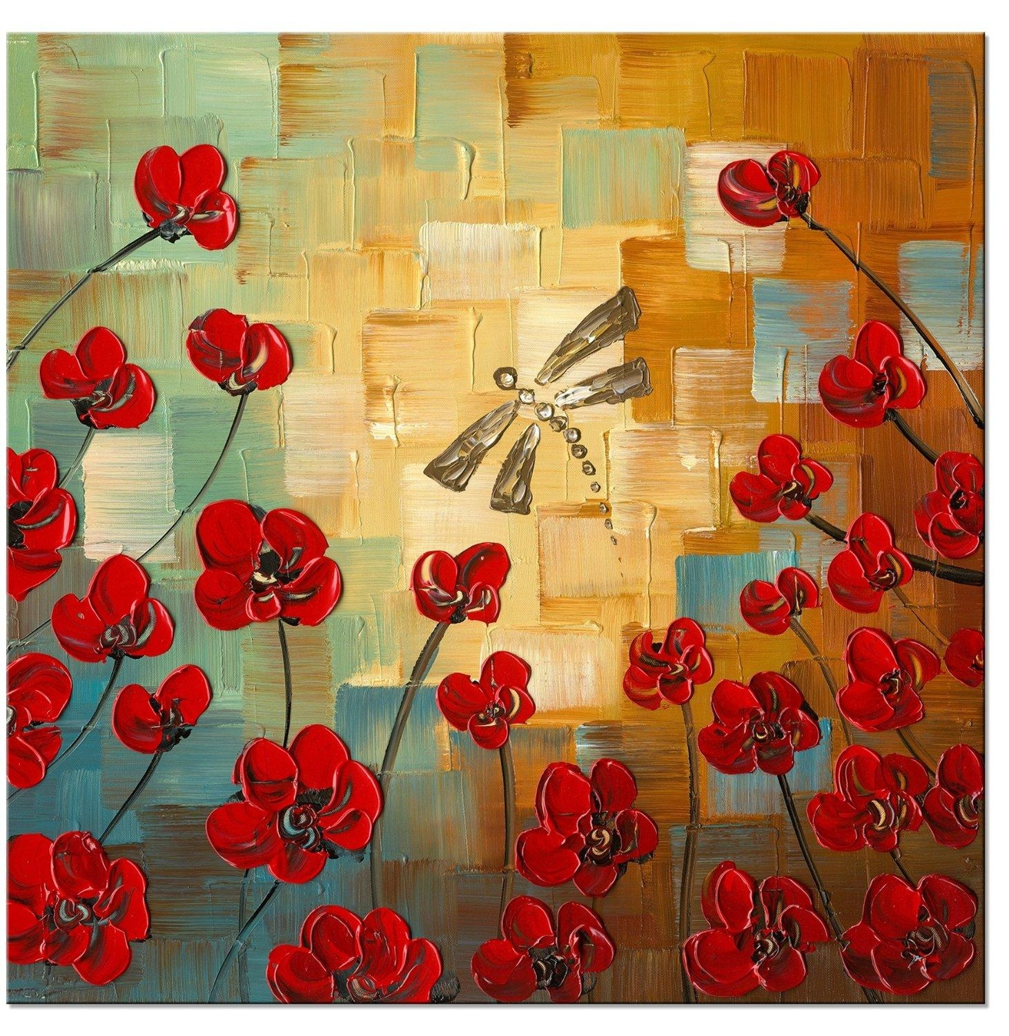 Dragonfly Modern Canvas Art Wall Decor Floral Oil Painting Wall For Oil Painting Wall Art On Canvas (View 9 of 20)