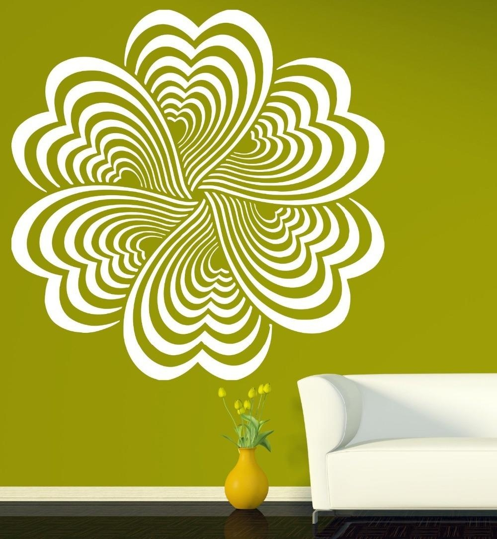 Drawing Elements Flower Optical Illusion Vinyl Wall Sticker Home In Optical Illusion Wall Art (View 9 of 20)