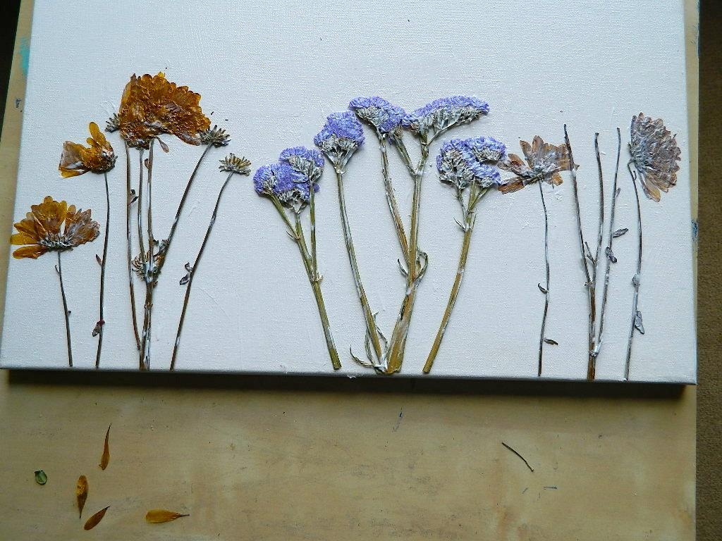Dried Flower Canvas Wall Art In Teal Flower Canvas Wall Art (Image 11 of 20)