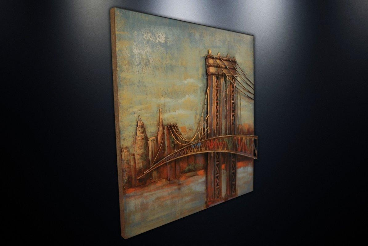 Dsd Group Metal Wall Art Sculpture Home Decor 'brooklyn Bridge In Brooklyn Bridge Metal Wall Art (Image 6 of 20)