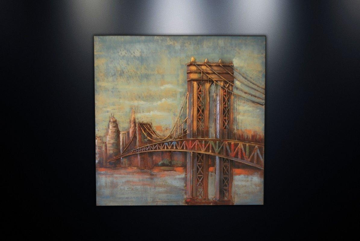Dsd Group Metal Wall Art Sculpture Home Decor 'brooklyn Bridge Intended For Brooklyn Bridge Metal Wall Art (Image 8 of 20)