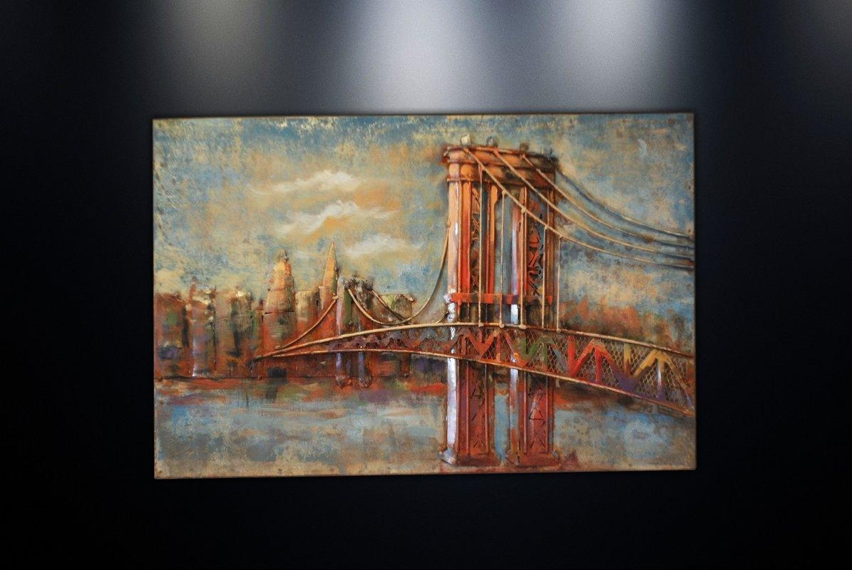 Dsd Group Metal Wall Art Sculpture Home Decor 'brooklyn Bridge With Brooklyn Bridge Metal Wall Art (Image 9 of 20)