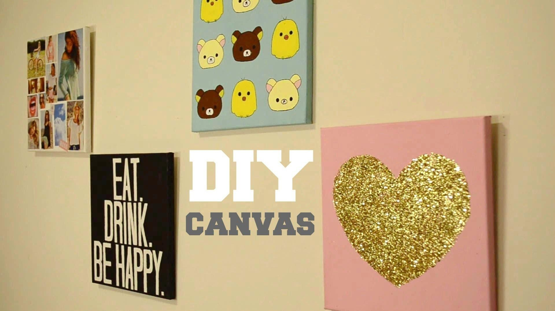 ✂ Diy Wall Decor: Custom Canvas – Youtube Pertaining To Diy Canvas Wall Art Quotes (Image 1 of 20)