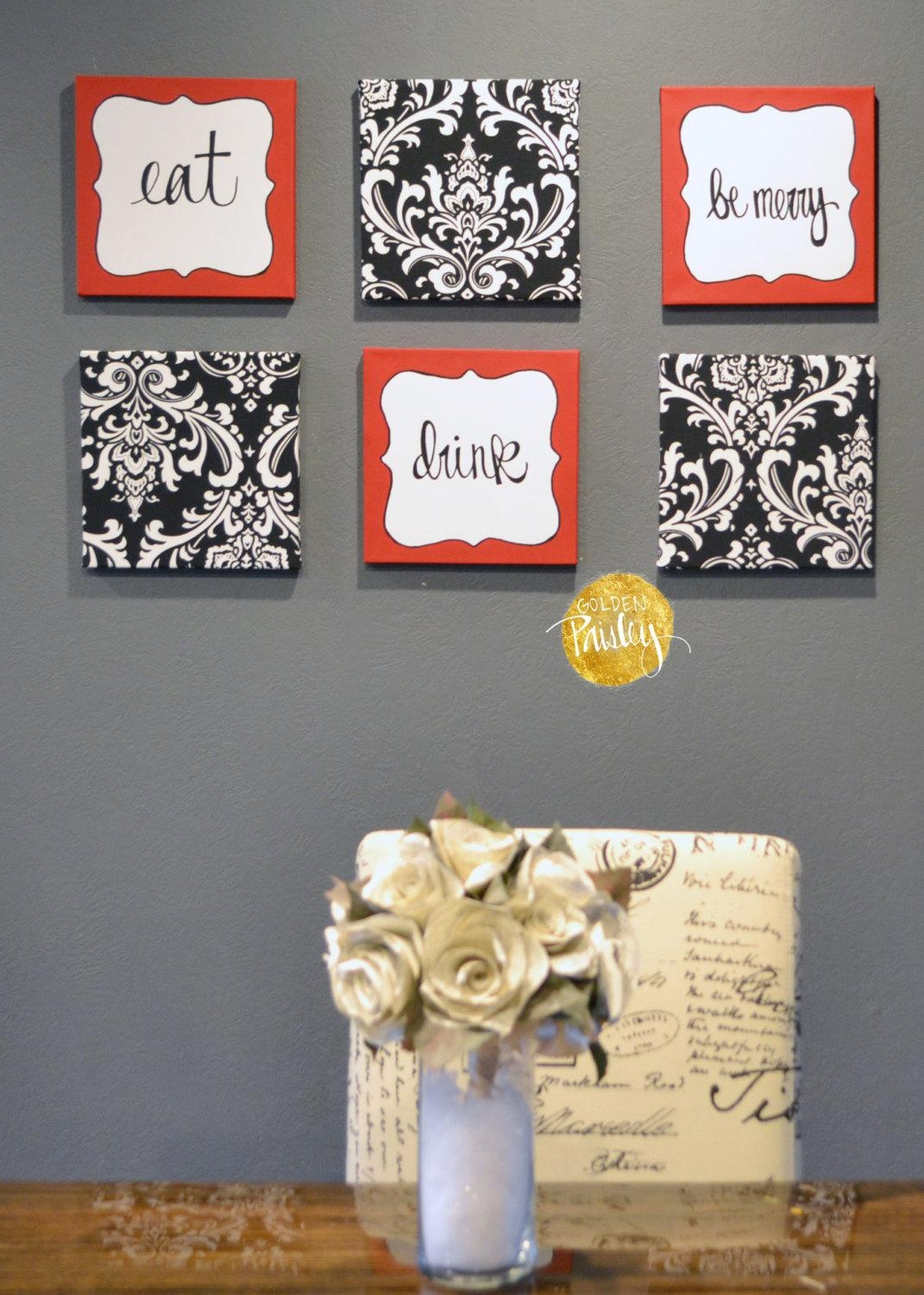 Eat Drink Be Merry Red Black White Wall Art 6 Pack Canvas Wall Inside Black And White Damask Wall Art (View 9 of 20)