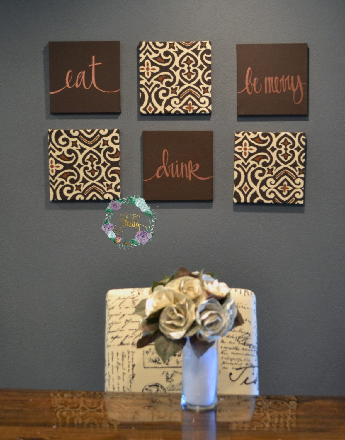 Eat Drink & Be Merry Wall Art Pack Of 6 Canvas Wall Hangings In Fabric Canvas Wall Art (Image 10 of 20)