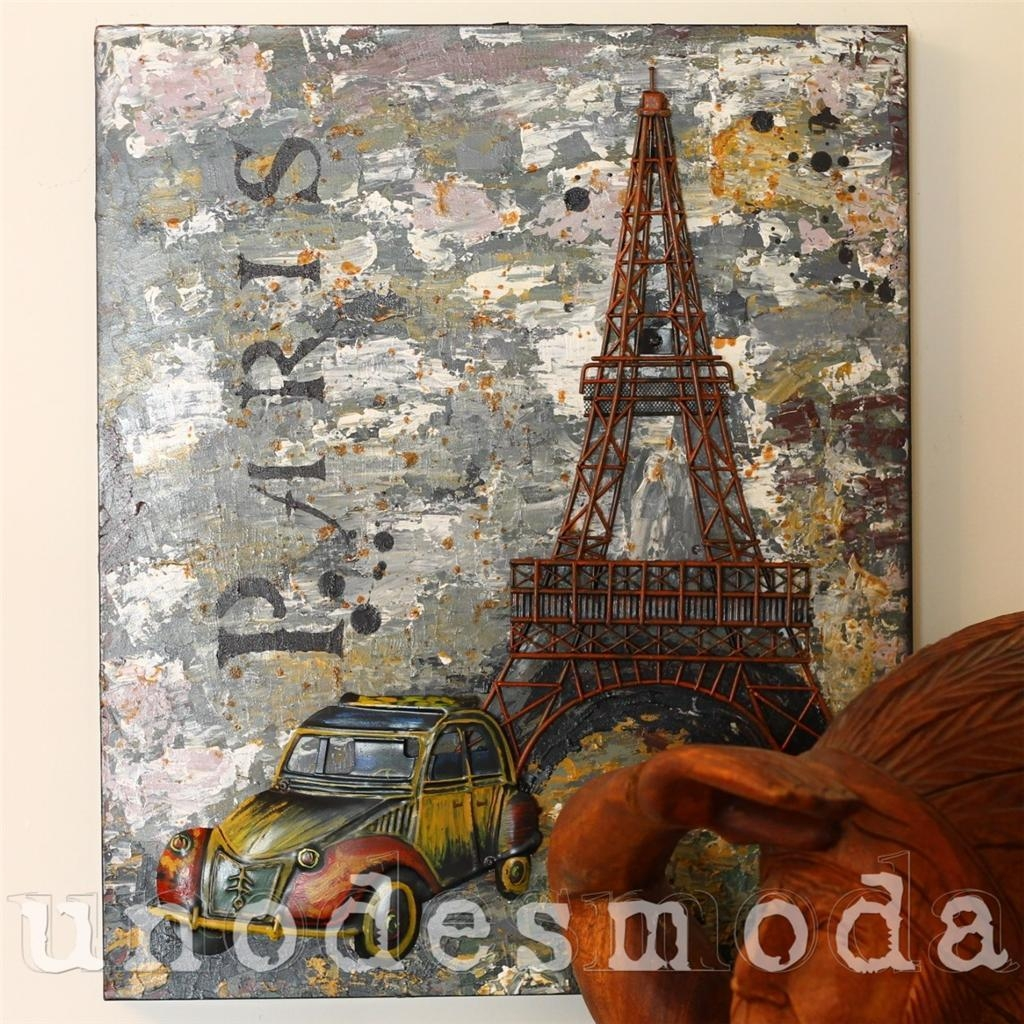 Eiffel Tower Metal Wall Art French Paris Rustic Vintage Industrial In Metal Eiffel Tower Wall Art (View 6 of 20)