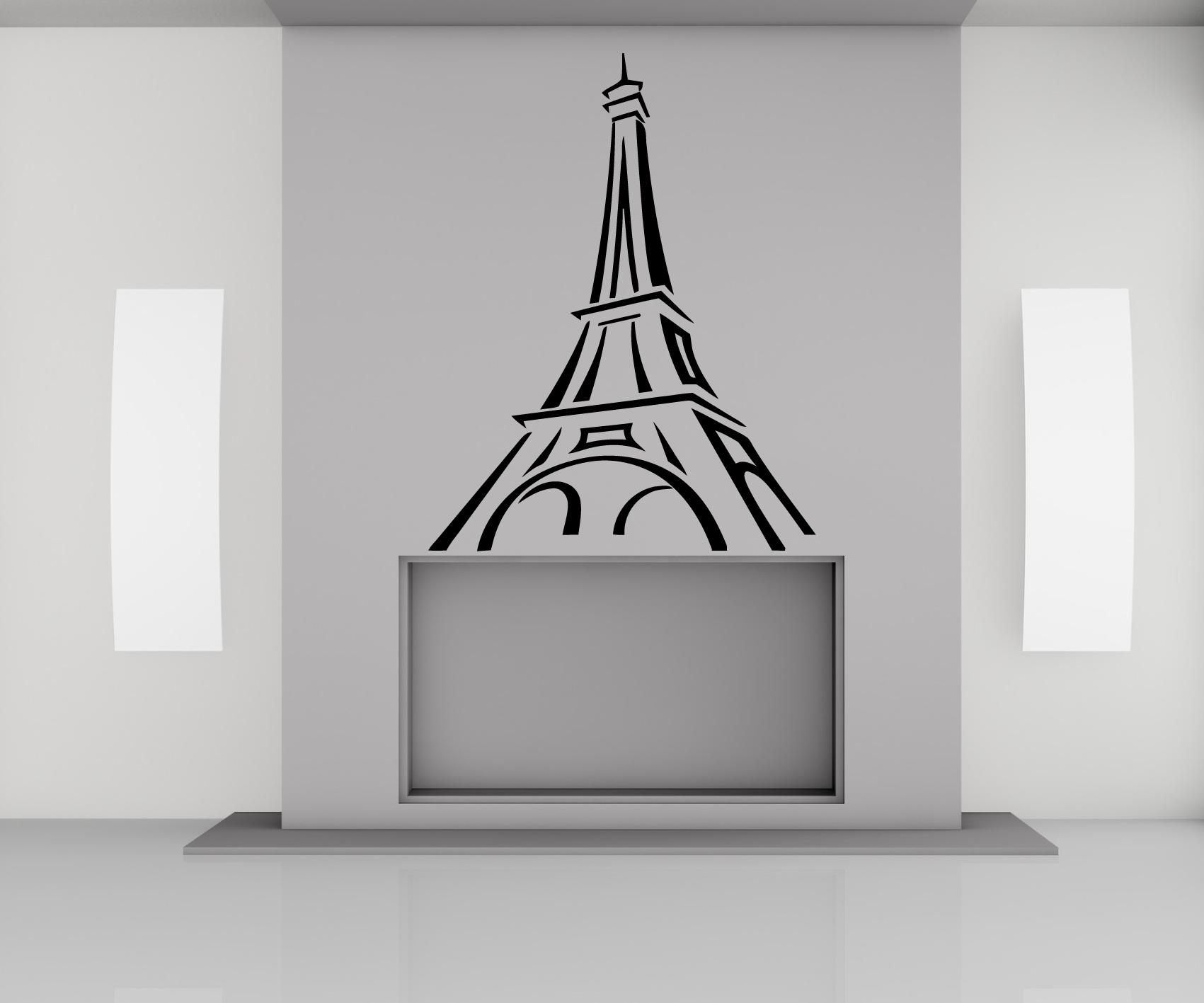 Eiffel Tower – Paris Vinyl Wall Art Stickers Decal Regarding Paris Vinyl Wall Art (View 17 of 20)