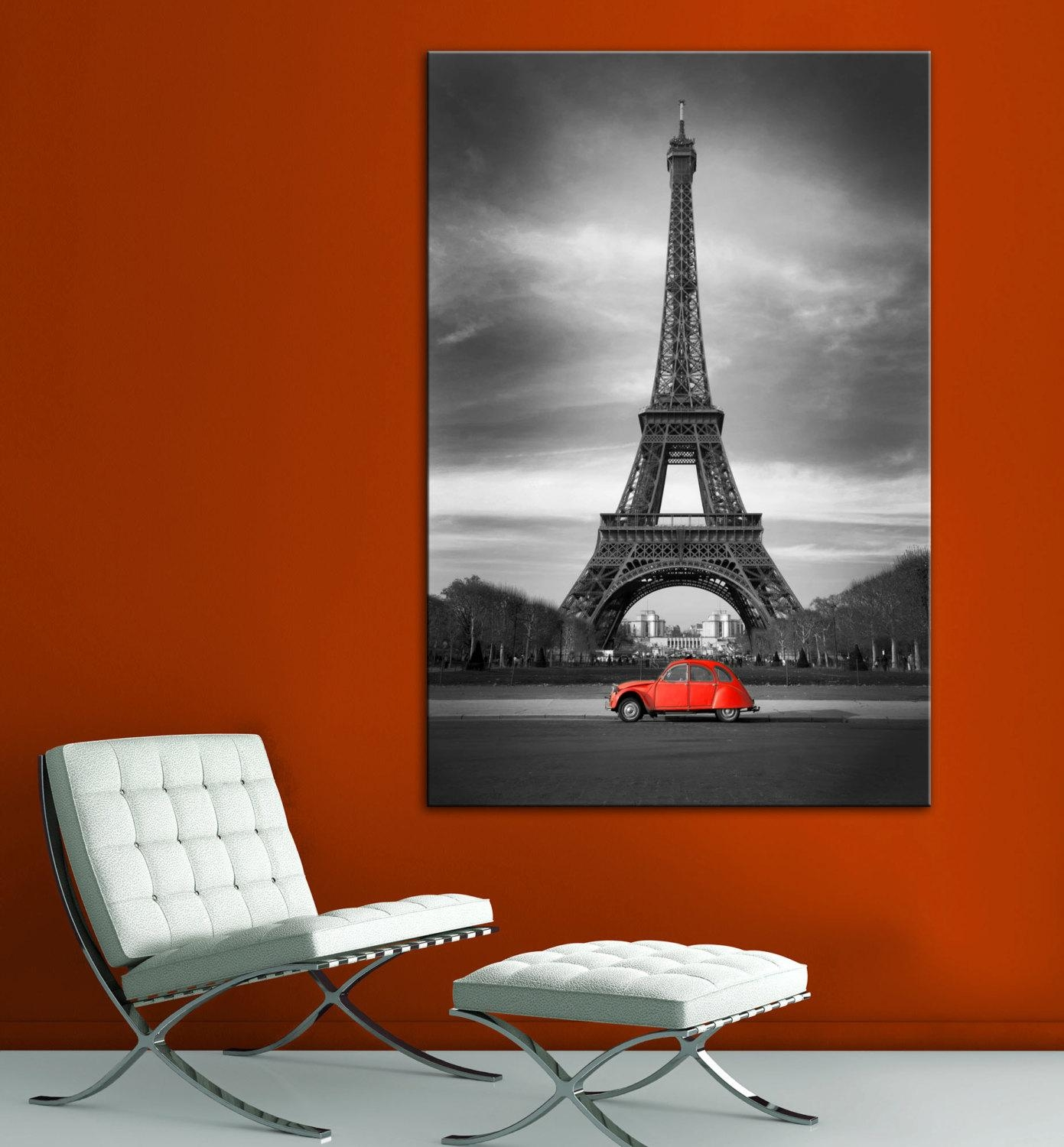 Eiffel Tower Red Car Paris Black White Wall Art Canvas Giclee With Black And White Wall Art With Red (Image 10 of 20)