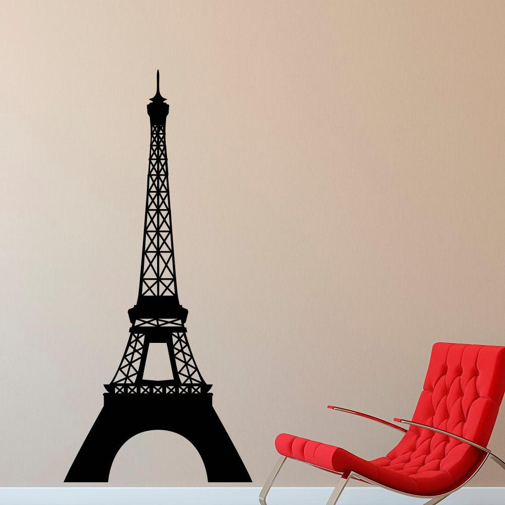 Eiffel Tower Wall Decal Paris Theme Decor Vinyl Wall Decal Regarding Paris Vinyl Wall Art (View 14 of 20)