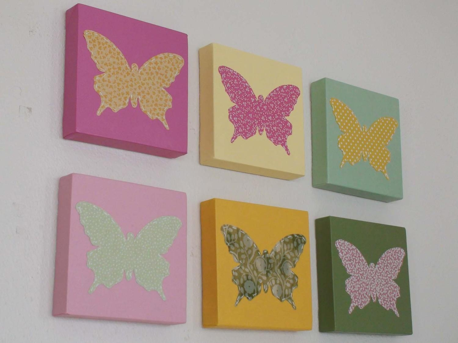 Eight Butterfly Canvas Wall Decorations | Decor Woo Within Butterfly Canvas Wall Art (Image 9 of 20)