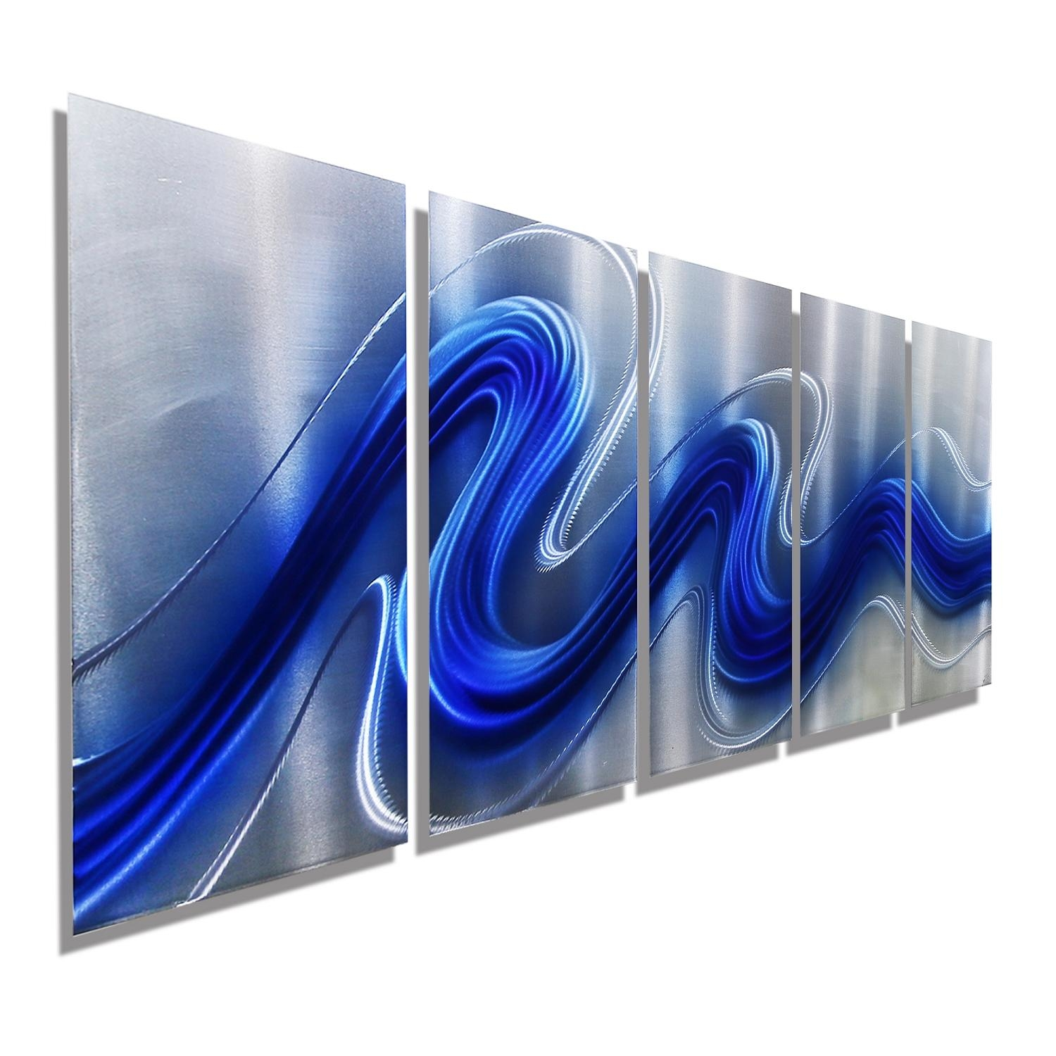 """Electric Bluejon Allen – 64"""" X 24"""" For Blue And Silver Wall Art (Image 13 of 20)"""