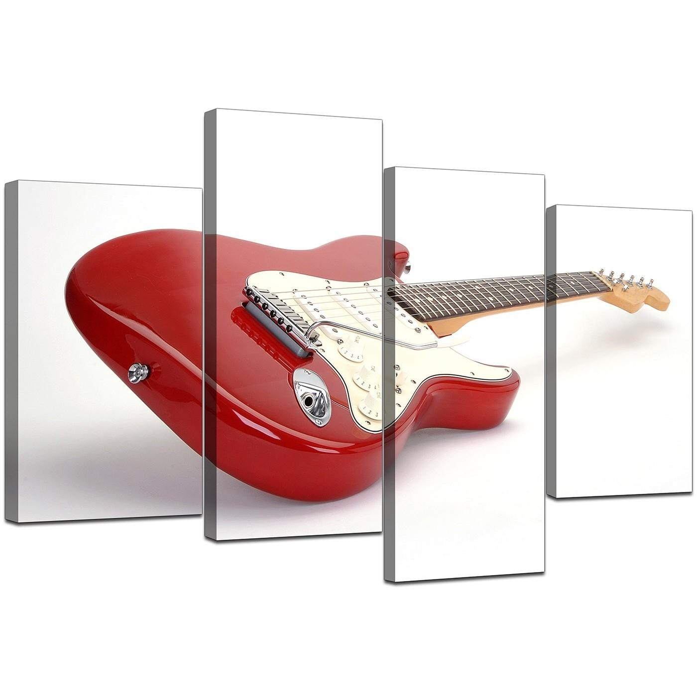 Electric Guitar Canvas Wall Art In Red – For Bedroom Inside Guitar Canvas Wall Art (Image 6 of 20)
