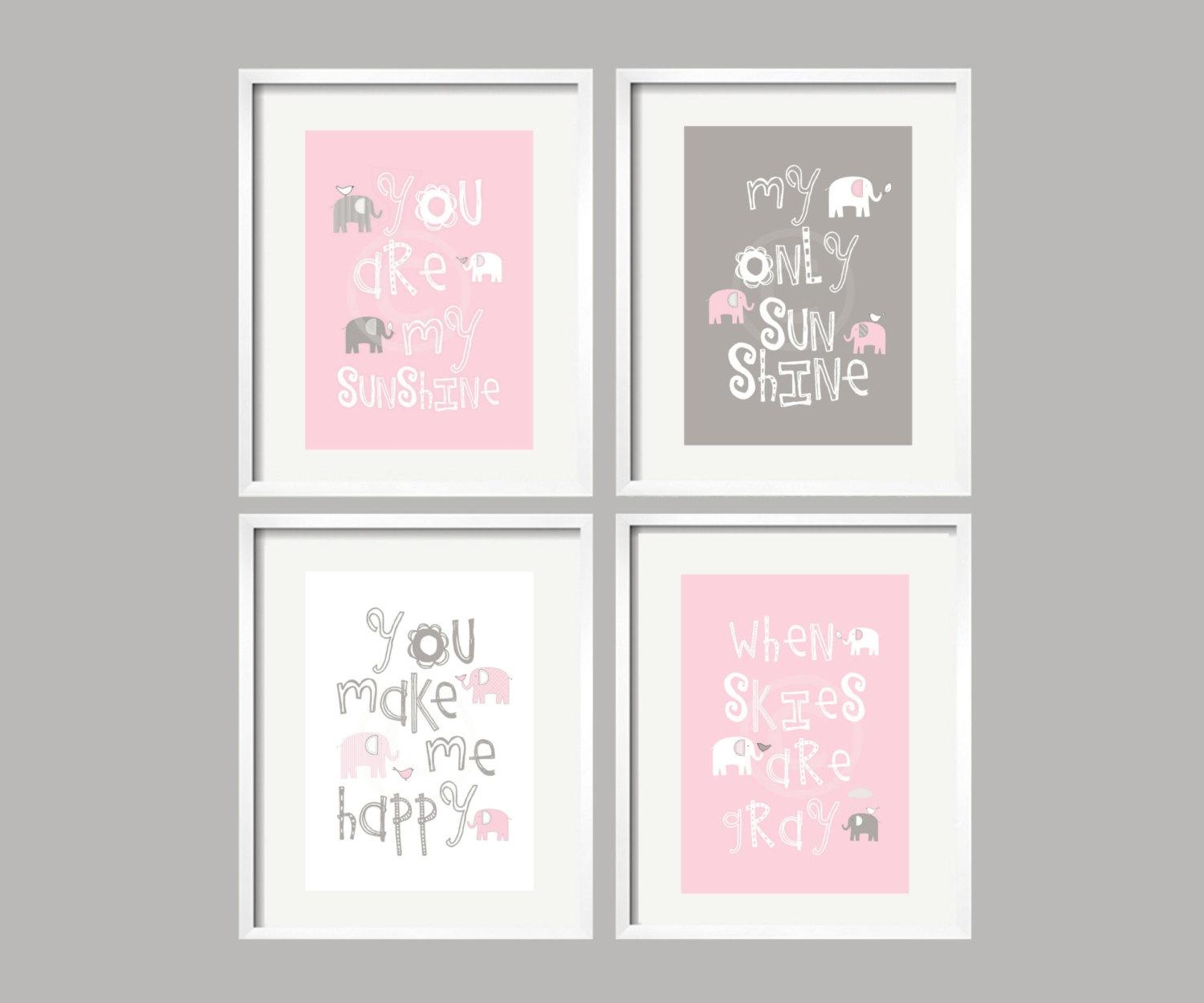 Elephant Art You Are My Sunshine Pink Grey Baby Girl Elephant Within Canvas Prints For Baby Nursery (View 13 of 20)