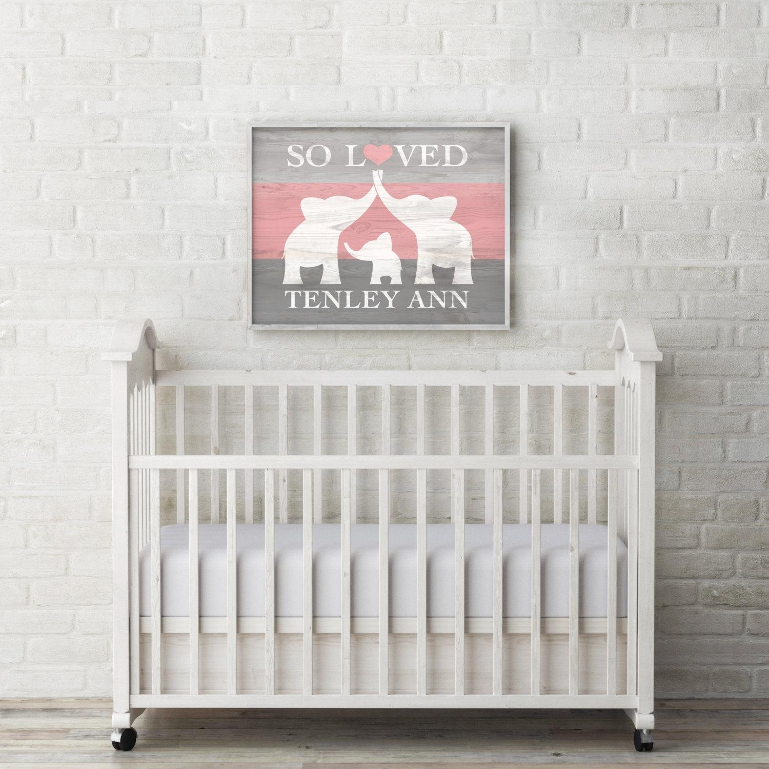 Elephant Nursery Decor Custom Baby Name Wall Art Elephant With Nursery Framed Wall Art (View 7 of 20)