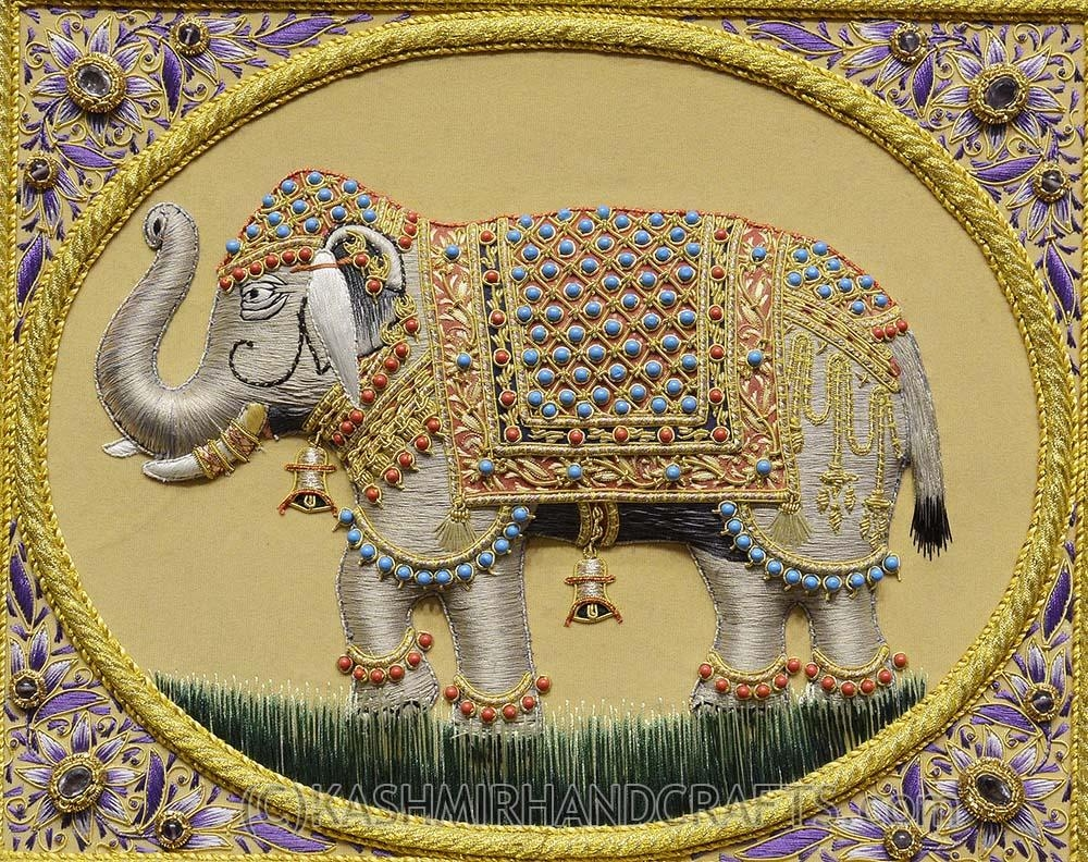 Elephant Wall Art Decorative Panels Jewel Art Tapestrykashmir Fine In Jeweled Peacock Wall Art (Image 8 of 20)