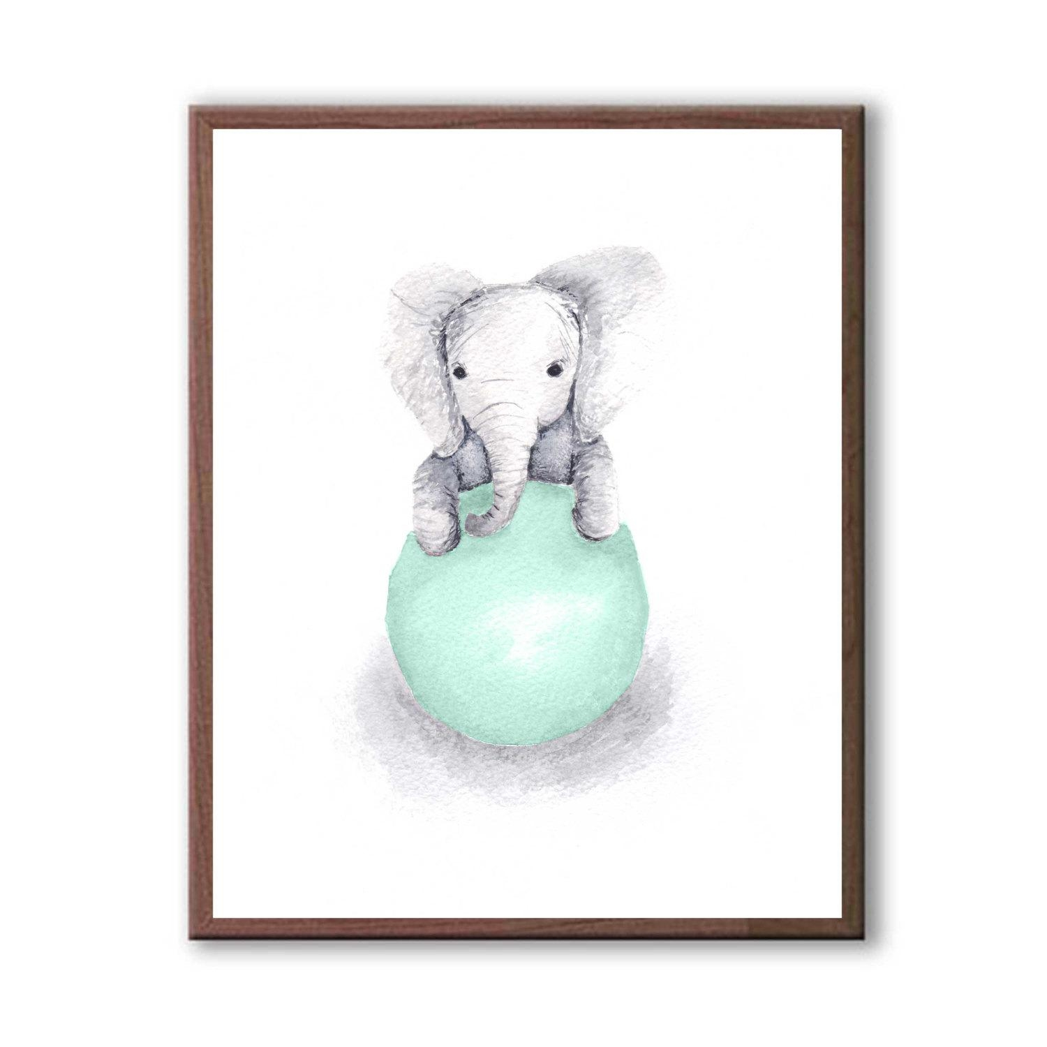 Elephant Wall Decor Baby Decor Art For Children Kids Room With Regard To Etsy Childrens Wall Art (View 17 of 20)
