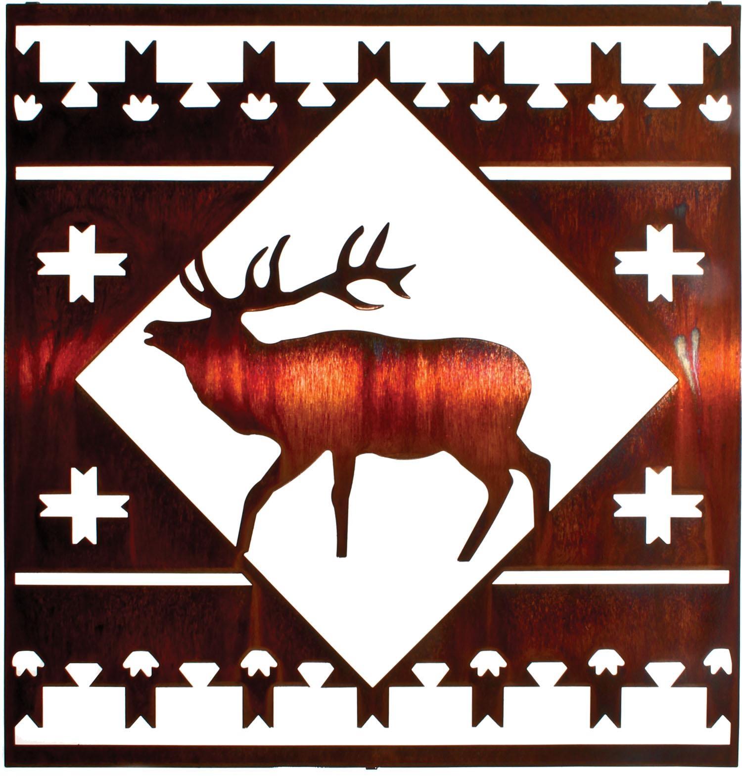 Elk Lodge Square Best Sellerlazart – Sanger Metal Art And Gifts Inside Lazart Metal Art (View 16 of 20)