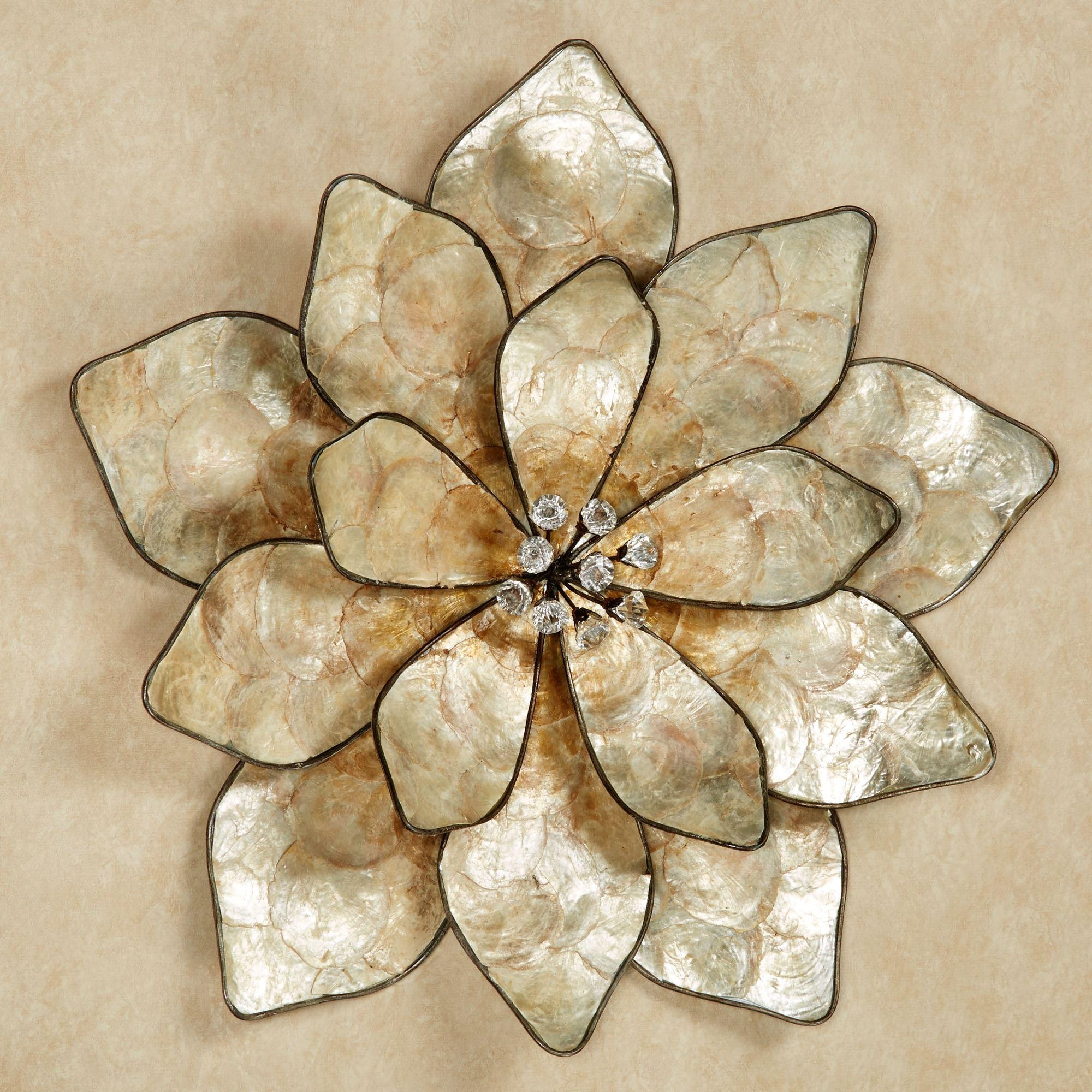 Eloquence Bloom Capiz Shell Flower Wall Art With Regard To Cream Metal Wall Art (View 6 of 20)