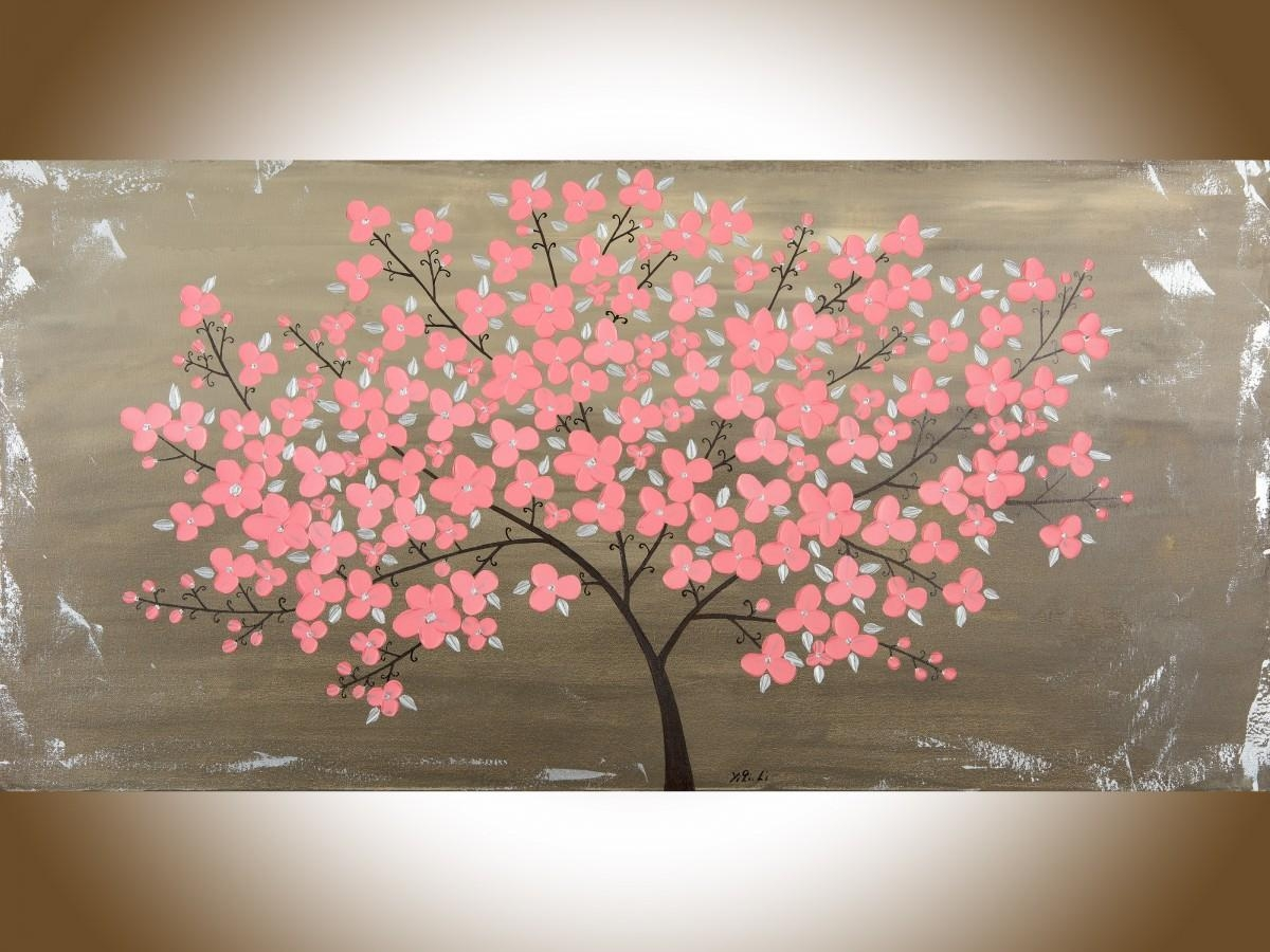 "End Of The Summer Blossomsqiqigallery 48"" X 24"" Original Regarding Red Cherry Blossom Wall Art (View 2 of 20)"