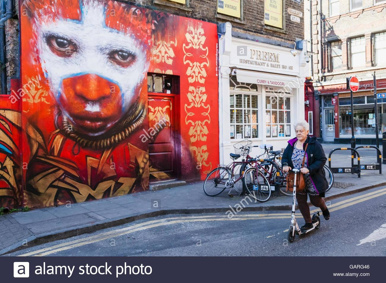 England, London, Shoreditch, Street Scene With Wall Art Stock Regarding London Scene Wall Art (Image 6 of 20)