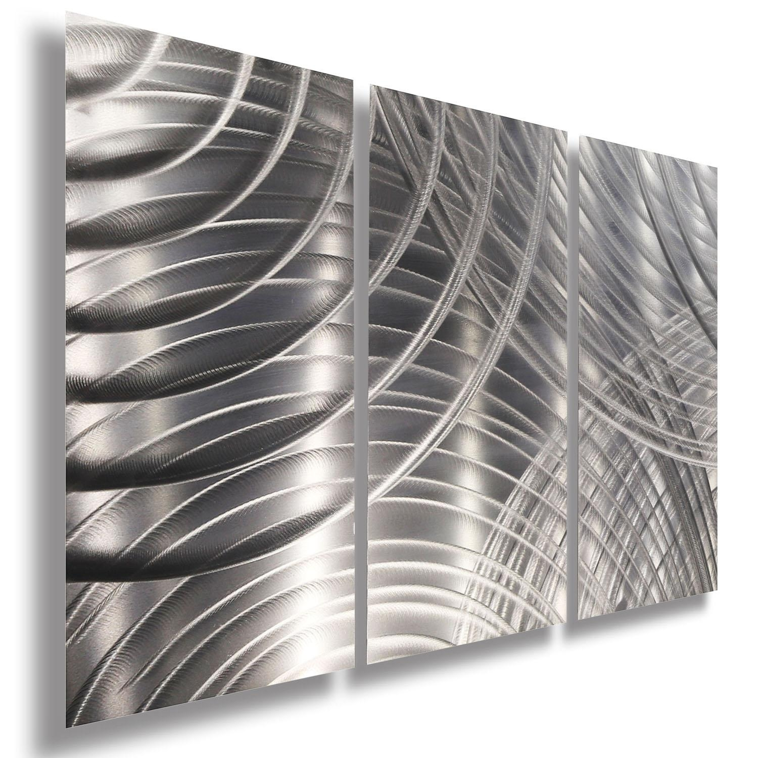 Equinox Ii 3P – All Silver 3 Panel Metal Wall Art Accentjon Intended For Black Silver Wall Art (Image 4 of 20)