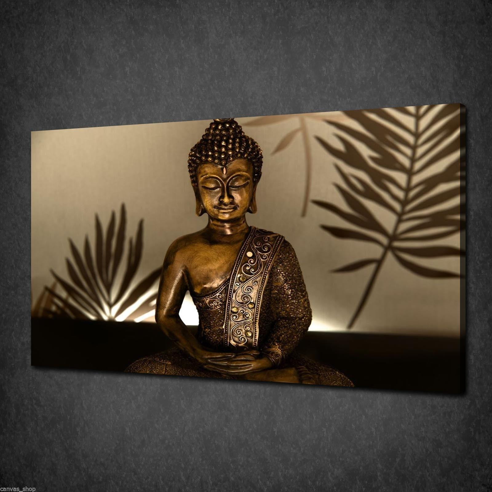 Ethnic Gold Buddha Relligious Wall Art Canvas Print Picture Poster In Large Buddha Wall Art (Image 10 of 20)